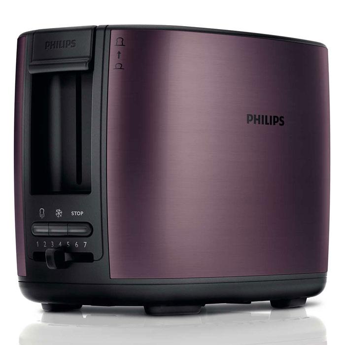 Philips HD2628/90, Lilac тостерHD2628/90Тостер Philips HD2628 с отделениями регулируемой ширины для приготовления вкусных тостов. Готовьте равномерно подрумяненные до золотистой корочки тосты разной толщины. Прибор удобен в использовании и оснащен такими полезными функциями, как разморозка и подогрев. Безопасное использование благодаря специальному подъемнику, кнопке отмены и не нагревающейся внешней поверхности.Съемный поддон для крошек для простой очистки:Простая очистка благодаря съемному поддону для крошек.Корпус тостера не нагревается:Корпус тостера Philips не нагревается.Регулятор степени обжаривания:Индивидуальная настройка температурного режима для приготовления вкусных тостов.Система автоматического отключения при застревании ломтика хлеба:Тостер автоматически выключается, если ломтик хлеба застрял внутри.Разморозьте хлеб или подогрейте недавно приготовленные тосты за один прием:Кнопка разморозки на тостере позволяет размораживать и поджаривать хлеб за один прием, а кнопка подогрева — разогревать остывший хлеб или подрумянить уже поджаренный ломтик.Специальный подъемник для безопасного извлечения небольших хлебцев:Благодаря этому можно приподнять небольшие кусочки хлеба и с легкостью извлечь их, не обжигаясь.Регулируемая ширина отделений для тостов с автоцентрированием для идеального обжаривания:Отделения тостера Philips с автоцентрированием вмещают и толстые, и тонкие ломтики, гарантируя равномерное обжаривание7 различных режимов приготовления тостовНескользящие ножки