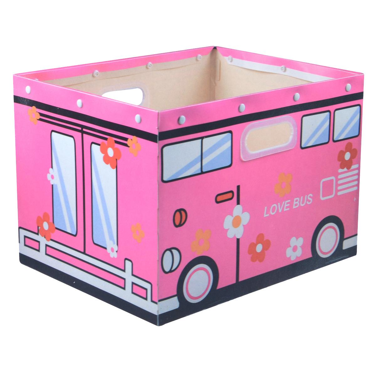 Коробка для хранения House & Holder Love Bus, цвет: розовый, 38 х 30 х 27 смDB-59Декоративная коробка для хранения House & Holder Love Bus изготовленная в виде замечательного автобуса, станет незаменимым помощником для всех членов семьи, но особенно для детей. Благодаря ее универсальности в ней можно хранить самые разнообразные вещи: от предметов домашнего обихода до детских игрушек и книжек, а плотно прилегающая крышка защитит их от влаги и пыли. Удобные ручки обеспечат комфорт при переноске.Размер коробки: 38 см х 30 см х 27 см.