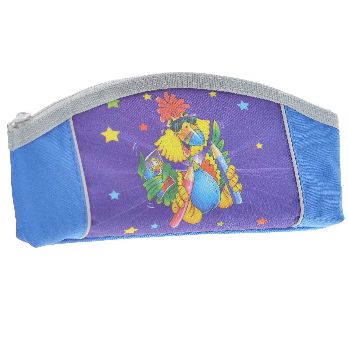 Пенал на молнии JOYFUL BIRDIE,1 отделение, без наполнения, цвет: сине-фиолетовый -  Пеналы