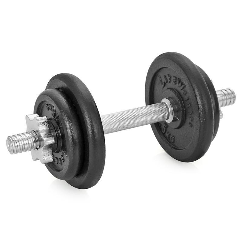 Гантель сборная Lite Weights, 9,43 кг4542LWСборная гантель состоит из 4-х дисков, изготовленных из чугуна и стального хромированного грифа. Гантель помогает укрепить мышцы рук, грудной клетки, верхней части спины и плеч. Благодаря небольшому размеру гантель удобно хранить, она не займет много места в квартире.Внутренний диаметр дисков: 24,4 мм.В комплект входят 4 диска: 2 х 1,25 кг, 2 х 2,5 кг. Диаметр грифа: 25,4 мм.Длина: 350 мм.В комплекте замок-гайка 2 шт. Общий вес гантели: 9,43 кг.