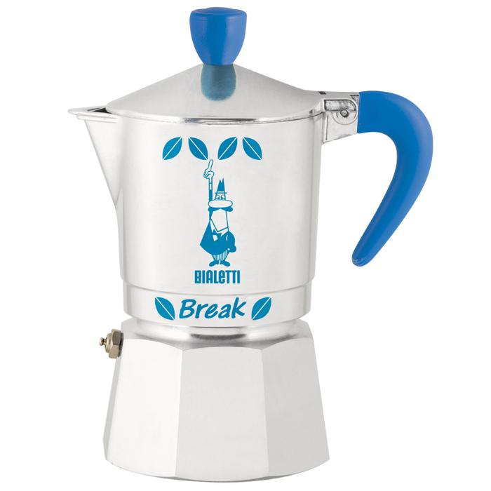 Гейзерная кофеварка Bialetti Break, цвет: голубой, на 3 чашки, 120 мл2732Инновационный дизайн. Кофе на ваш вкус, благодаря возможности выбора количества кофе и смешиванию сортов кофе. Для приготовления кофе на электрических и газовых плитах, а также других нагревающих поверхностях. Кофеварка Break – кофеварка из полированного алюминия с восьмигранной нижней частью и круглой верхней.
