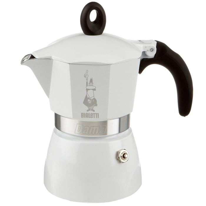 Гейзерная кофеварка Bialetti Dama Bianca Lucida, на 3 порции, 120 мл3142Гейзерная кофеварка Bialetti Dama Bianca Lucida поможет быстро приготовить вкусный и ароматный напиток, благодаря возможности выбора количества кофе и смешиванию сортов. Корпус изделия окрашен в белый цвет. Нескользящая силиконовая ручка с металлической вставкой повторяет форму кнопки. Кнопка давления вынимается и промывается.Подходит для приготовления кофе на электрических и газовых плитах, а так же других нагревающих поверхностях.Высота кофеварки: 17,8 см.Ширина кофеварки: 15 см.Глубина кофеварки: 11,4 см.