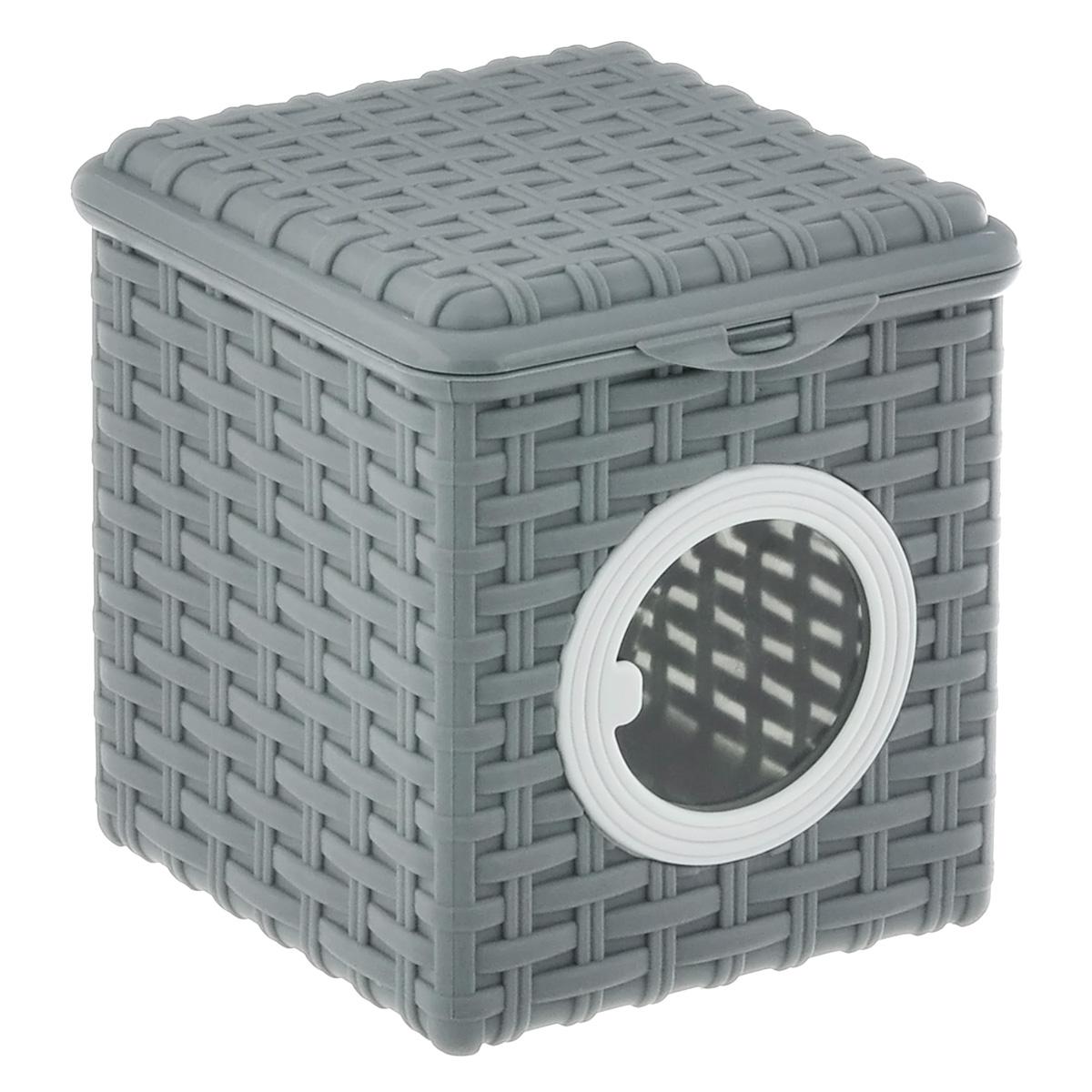 Контейнер для мелочей Violet, цвет: серый, 16 х 17 х 18 см2003/8Квадратный контейнер Violet изготовлен из прочного пластика и оформлен плетением под корзинку. Контейнер имеет прозрачное пластиковое окошко. Также у контейнера имеется откидная крышка, которая закрывается на защелку. Контейнер Violet идеально подойдет для хранения различных мелочей.Размер: 16 см х 17 см.Высота стенки: 18 см. Объем: 3 л.