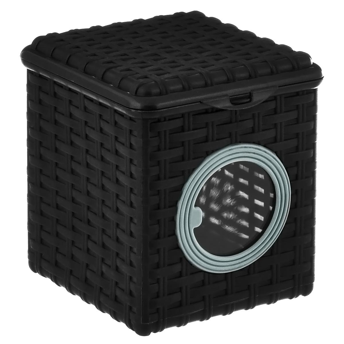 Контейнер для мелочей Violet, цвет: черный, 16 см х 17 см х 18 см2003/7Квадратный контейнер Violet изготовлен из прочного пластика и оформлен плетением под корзинку. Контейнер имеет прозрачное пластиковое окошко. Также у контейнера имеется откидная крышка, которая закрывается на защелку. Контейнер Violet идеально подойдет для хранения различных мелочей.Размер: 16 см х 17 см.Высота стенки: 18 см. Объем: 3 л.