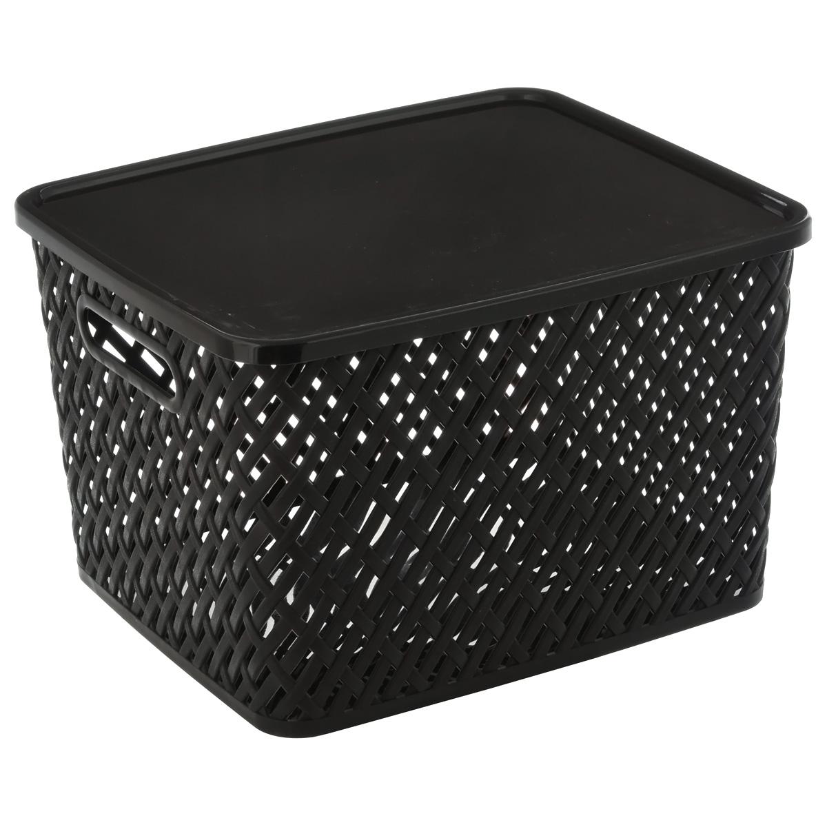 """Корзина Альтернатива """"Плетенка"""" выполнена  из прочного пластика. Она предназначена для  хранения различных бытовых вещей и продуктов.  Корзина имеет крышку, которая легко  открывается и плотно закрывается. Стенки  корзины имитированы под плетение, за счет  этого  обеспечивается естественная вентиляция.  Корзина поможет хранить все в одном месте, а  также его можно использовать как и для  пикника."""