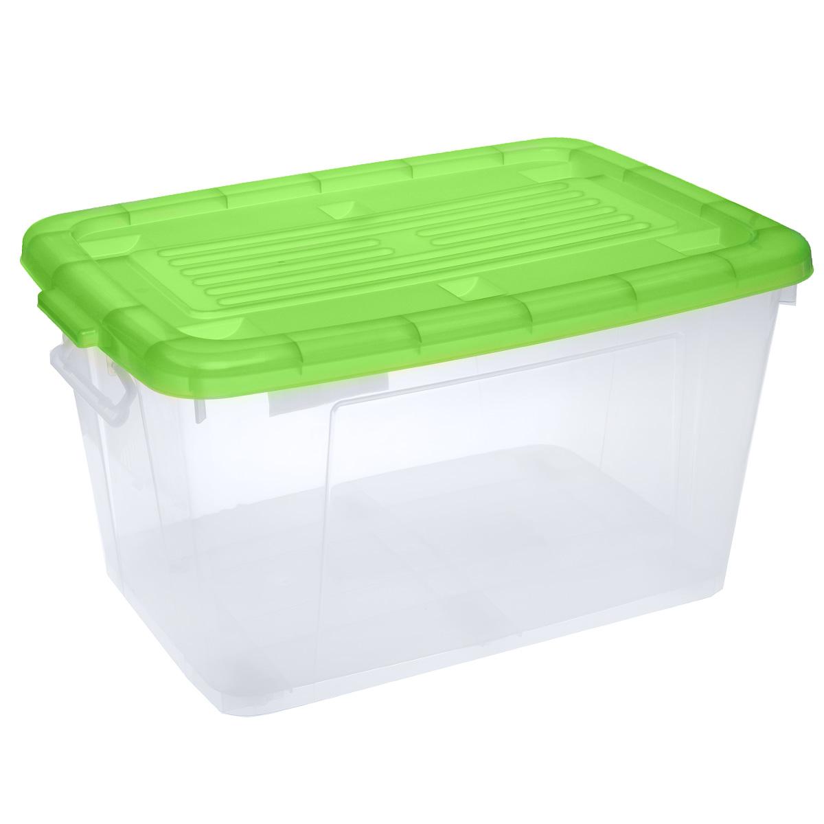 Ящик Darel Box, с крышкой, цвет: прозрачный, зеленый, 75 л10175Ящик Darel Box, изготовленный из прозрачного пластика, оснащен ручками и плотно закрывающейся крышкой. Изделие предназначено для хранения различных бытовых вещей. Идеально подойдет для хранения белья, продуктов, игрушек. Будет незаменим на даче, в гараже или кладовой. Выдерживает температурные перепады от -25°С до +95°С. Изделие имеет четыре маленьких колесика, обеспечивающих удобство перемещения ящика. Размер ящика: 68 см х 47 см х 37 см.