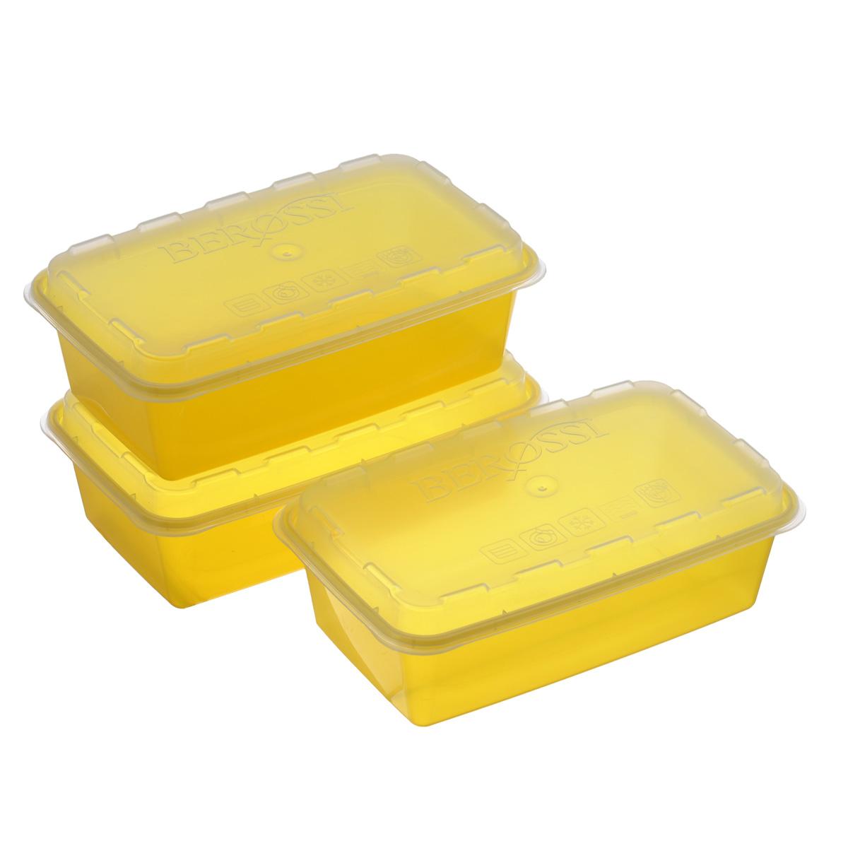 Набор контейнеров для СВЧ и заморозки Berossi Zip, цвет: желтый, 3 штИК17455Набор Berossi Zip, выполненный из высококачественного пищевого прозрачного пластика, состоит из трех контейнеров. Изделия предназначены для хранения и транспортировки пищи. Крышки легко открываются и плотно закрываются с помощью легкого щелчка. Контейнеры удобно складываются друг в друга, что экономит пространство при хранении в шкафу.Подходят для использования в микроволновой печи без крышки (до +120°С), для заморозки при минимальной температуре -20°С. Можно мыть в посудомоечной машине.