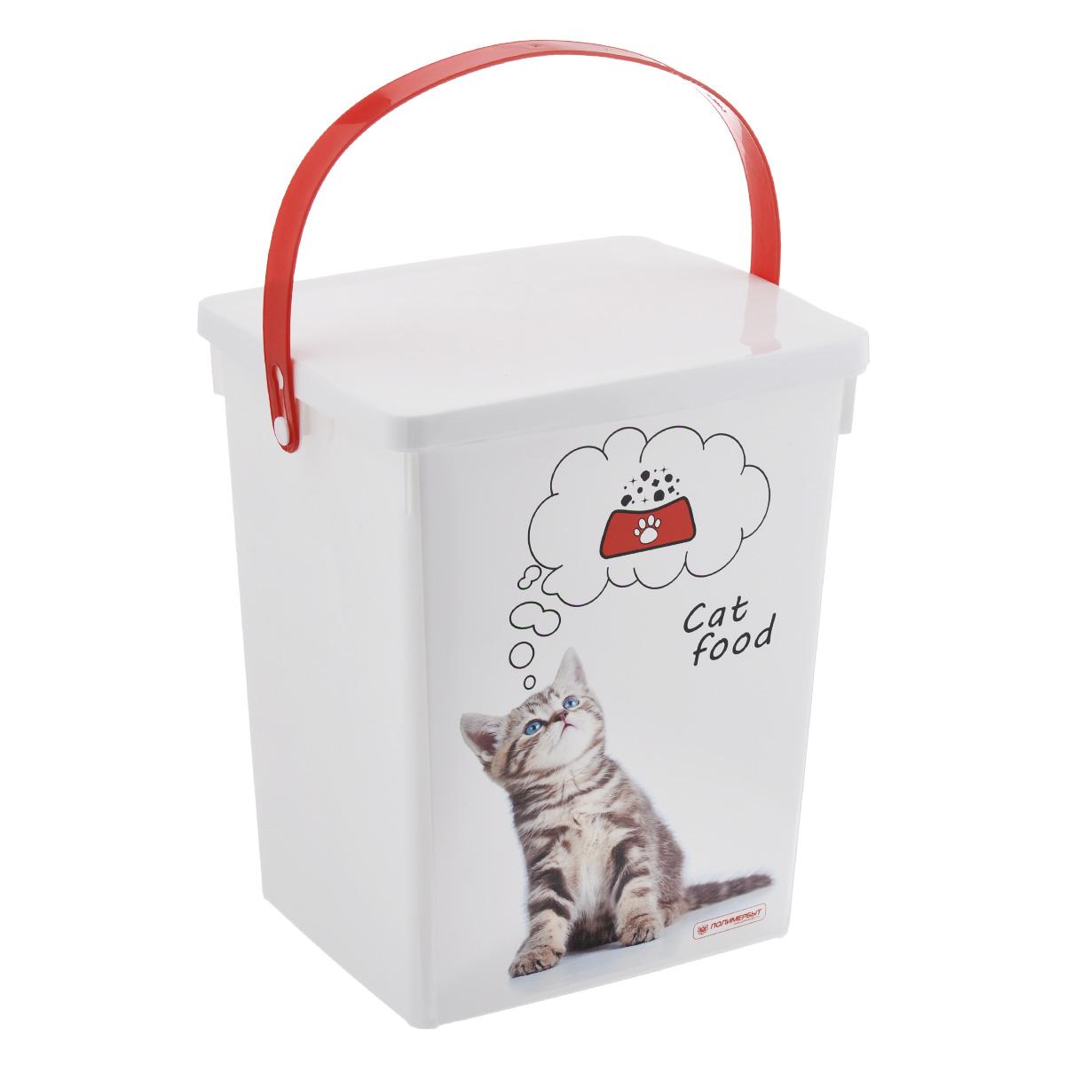 Контейнер для хранения корма Полимербыт Cat Food, цвет: белый, красный, 5 л