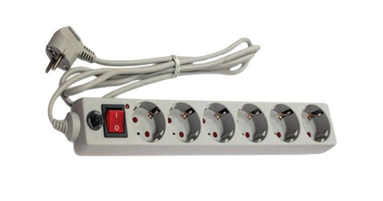 Сетевой фильтр с заземлением UNIVersal, ПВС (3*0,75), цвет: серый, 5 м83295Используется в жилых и офисных помещениях для защиты компьютеров и другой электронной аппаратуры от высокочастотных помех и импульсных перенапряжений в электрических сетях переменного тока до 250В вызванных: грозовыми разрядами, работой электротранспорта, авариями на подстанциях, работой промышленного оборудования. Характеристики: Материал корпуса: высококачественный полипропилен импортного производства. Материал деталей контактных групп: латунь. Номинальное напряжение: 220 В. Количество розеток: 6. Длина кабеля электропитания: 5 м. Номинальный ток: 10 А. Условие эксплуатации: от -15 до +50°С. Размер в упаковке: 40 см х 10 см х 5,5 см. Характеристики: Материал корпуса: высококачественный полипропилен импортного производства. Материал деталей контактных групп: латунь. Номинальное напряжение: 220 В. Количество розеток: 6. Длина кабеля электропитания: 5 м. Номинальный ток: 10 А. Условие эксплуатации: от -15 до +50°С. Размер в упаковке: 40 см х 10 см х 5,5 см.