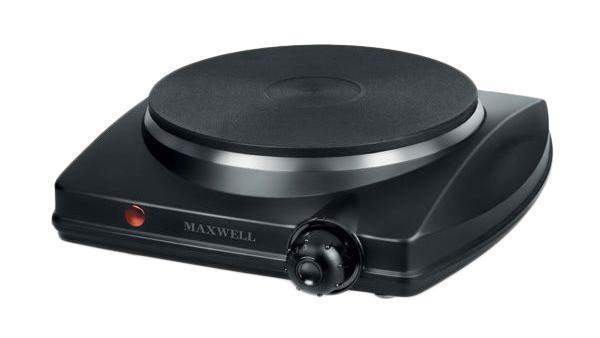 Maxwell MW-1902(BK) плитка электрическаяMW-1902(BK)Одноконфорочная плитка электрическая MAXWELL MW-1902 BK удобна для приготовления разных блюд. За счет возможности регулировки температуры нагрева конфорки вы с легкостью поджарите овощи, потушите мясо или сварите сытный суп. Плитка отличается универсальной черной расцветкой корпуса, благодаря чему она идеально подойдет к абсолютно любому интерьеру кухонного пространства. Плитка не займет много пространства на вашей кухне, при этом превратится в настоящую помощницу во время готовки. Техника надежна в использовании и отличается наличием защитного отключения при скачках напряжения, что позволяет сохранить работоспособность плитки в любой ситуации.