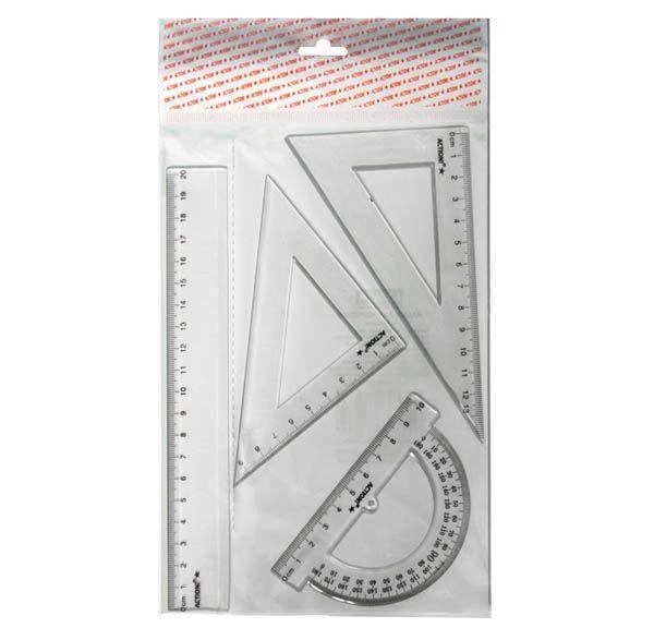 Набор для черчения-линейка 20см, 2 треугольника-30/13,45/9, транспортир-10см, прозрачн., е/пAPR20/4/TRНабор для черчения, состоящий из 4 предметов. Удобный и практичный по доступной цене.