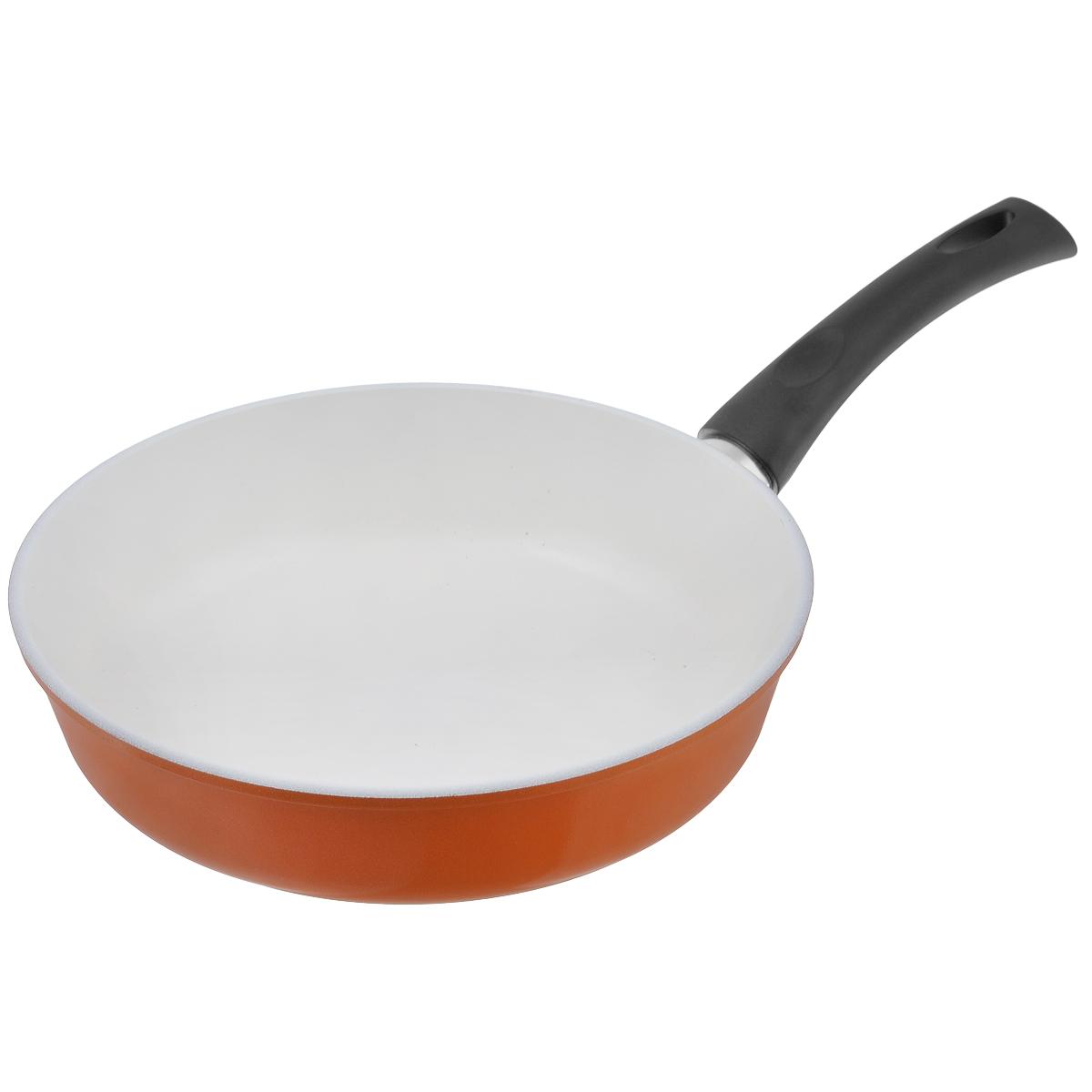 Сковорода Ecoway Сахарная тыква, с керамическим покрытием. Диаметр 26 см202126Сковорода Ecoway Сахарная тыква изготовлена из литого алюминия с немецким керамическим противопригарным покрытием. Оно не выделяет вредных веществ даже при температуре 400°С, отличается экологичностью, так как не содержит вредных примесей PFOA и PTFE.Пища, приготовленная в этой сковороде, имеет удивительный вкус. Благодаря качественному керамическому покрытию пища поджарится, но не пригорит. Литой корпус с утолщенным дном позволит готовить при правильных температурах (не выше 250°С), а значит, блюдо будет сочным и богатым витаминами. При приготовлении можно использовать металлические аксессуары. Удобная съемная ручка выполнена из пластика.Подходит для стеклокерамических, электрических и газовых плит, духового шкафа.Диаметр: 26 см.Высота стенки: 6,8 см.Толщина стенки: 4 мм.Толщина дна: 6 мм.Длина ручки: 18 см.