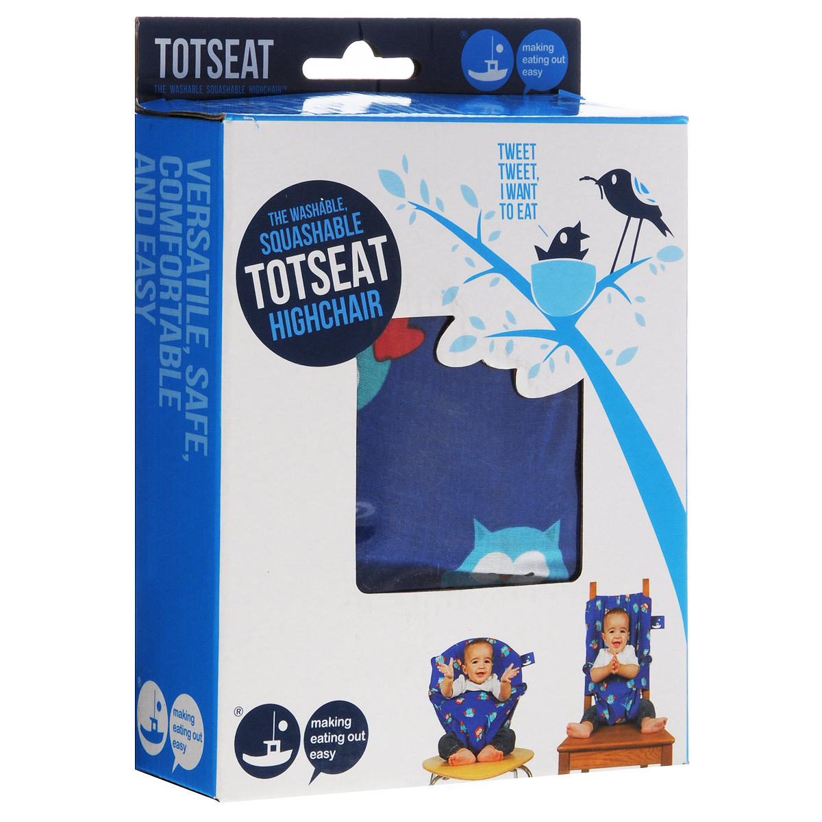 """Дорожный детский стульчик """"Totseat"""", цвет: синий с совушками"""