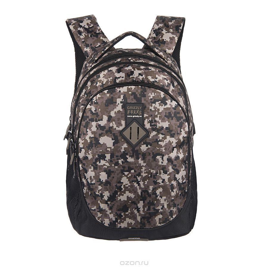Рюкзак городской Grizzly, цвет: камуфляж цифра, 20 л. RU-500-1/1
