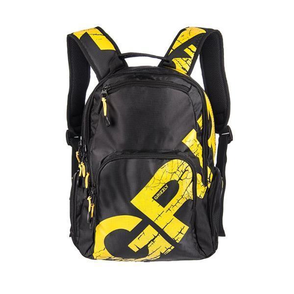 Рюкзак городской Grizzly, цвет: черный, желтый. RU-423-1/5RU-423-1/5Рюкзак Grizzly изготовлен из нейлона черного цвета и оформлен яркой цветной надписью. Рюкзак имеет два отделения, закрывающиеся на отдельные застежки-молнии. В первом отделении содержится вшитый карман на молнии. Рюкзак также имеет 2 боковых кармана на молнии. На передней стенке предусмотрен маленький карман на молнии, а также отделение на молнии с открытым кармашком и 3 узкими кармашками для пишущих принадлежностей.Рюкзак оснащен жесткой спинкой с мягкими вставками, двумя широкими мягкими лямками регулируемой длины и удобной короткой ручкой. Фурнитура изготовлена из металла черного цвета. Бегунки снабжены удобными держателями. Внутренняя поверхность отделана цветным полиэстером.