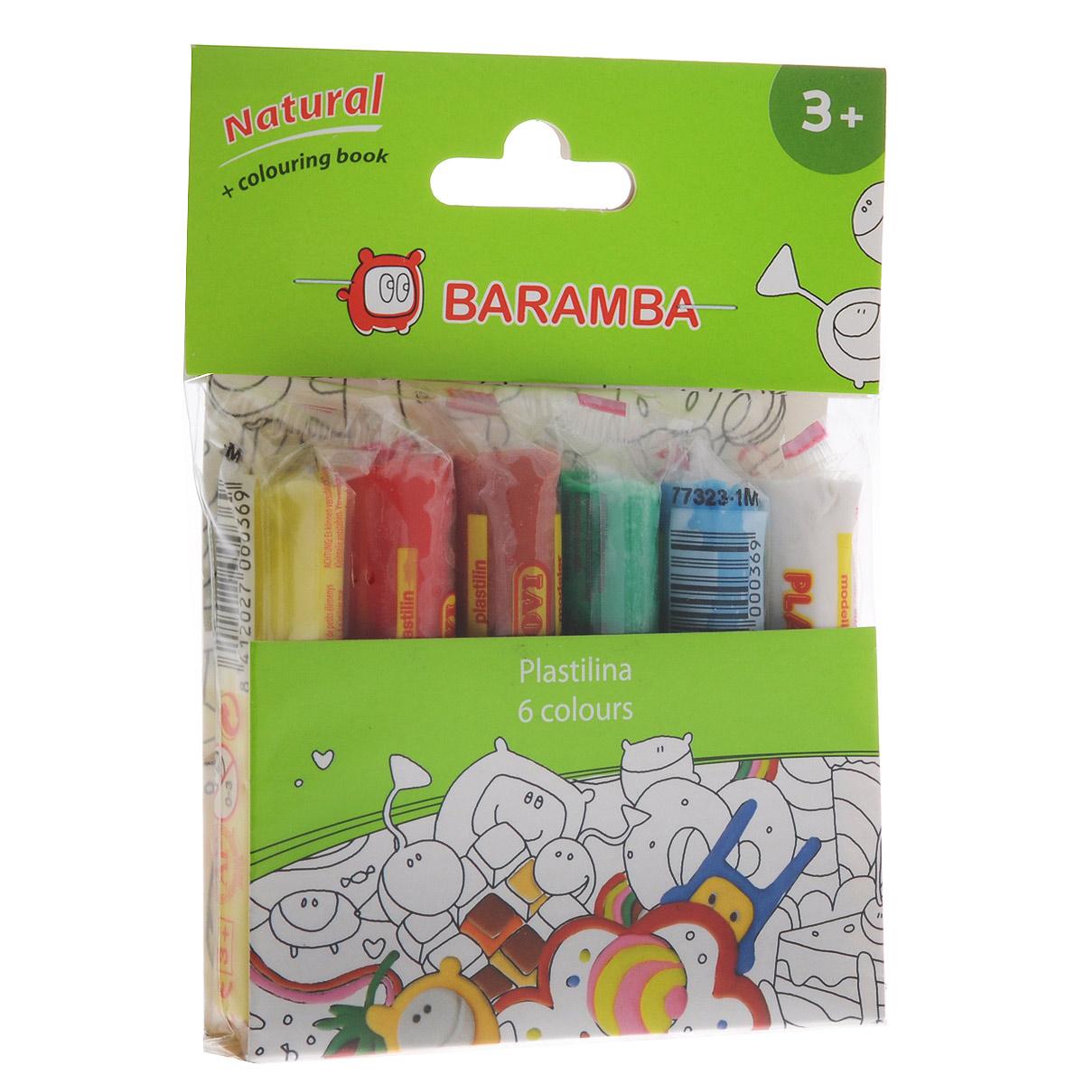 Пластилин Baramba, 6 цветов, с раскраскойB26006Пластилин Baramba с раскраской - это отличная возможность познакомить ребенка с еще одним из видов изобразительного творчества, в котором создаются объемные образы и целые композиции. В набор входит пластилин 6 ярких цветов (белый, голубой, зеленый, коричневый, красный, желтый). Цвета пластилина легко смешиваются между собой, и таким образом можно получить новые оттенки. Пластилин на растительной основе, очень мягкий, содержит натуральные масла и воск, легко смешивается друг с другом и не липнет к рукам.Техника лепки богата и разнообразна, но при этом доступна даже маленьким детям. В комплект также входит раскраска с изображением, которое малыш сможет раскрасить с помощью пластилина. Занятие лепкой не только увлекательно, но и полезно для ребенка. Оно способствует развитию творческого и пространственного мышления, восприятия формы, фактуры, цвета и веса, развивает воображение и мелкую моторику.
