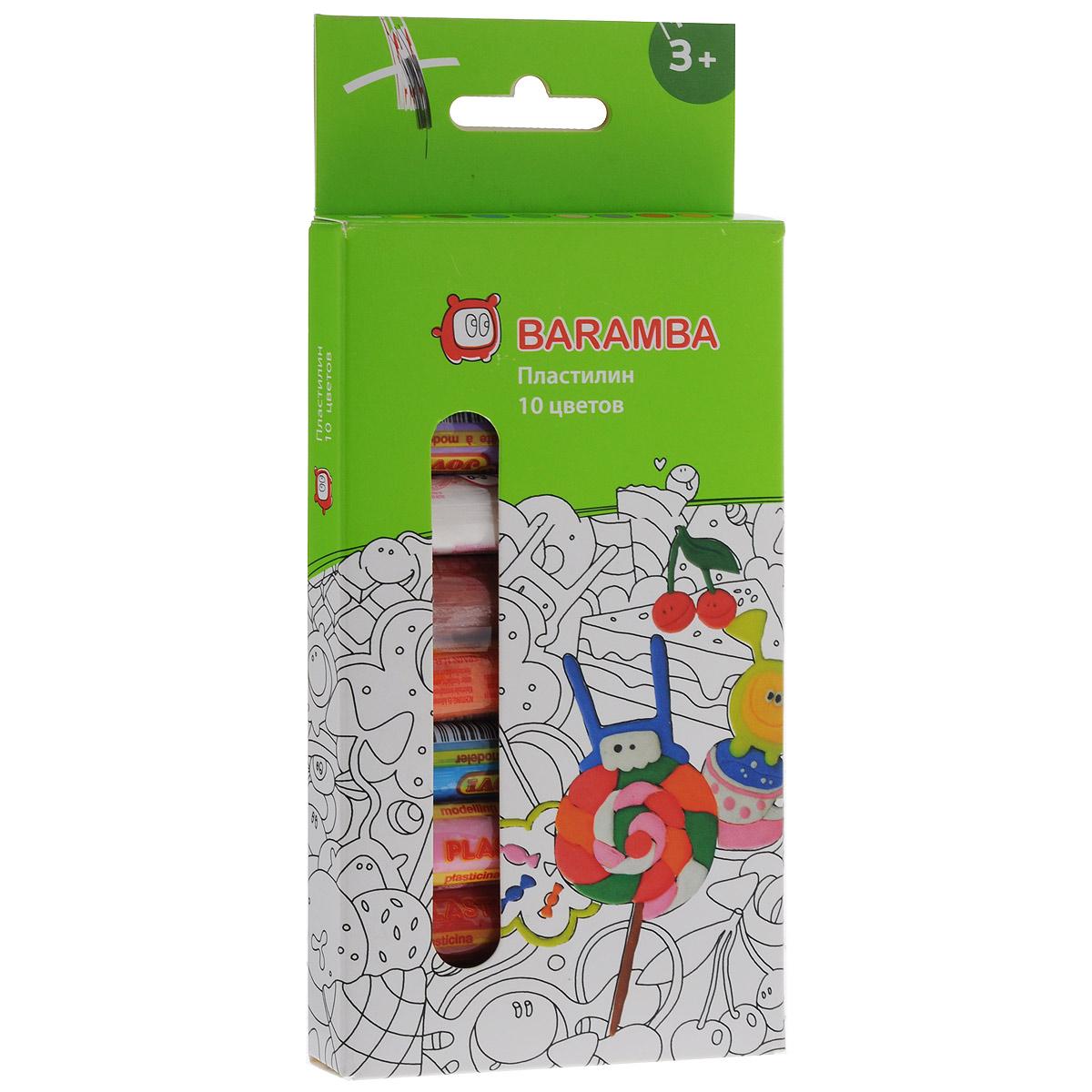 Пластилин Baramba, 10 цветовB26010Пластилин Baramba - это отличная возможность познакомить ребенка с еще одним из видов изобразительного творчества, в котором создаются объемные образы и целые композиции. В набор входит пластилин 10 ярких цветов (белый, желтый, коричневый, синий, зеленый, розовый, фиолетовый, красный, оранжевый, черный). Цвета пластилина легко смешиваются между собой, и таким образом можно получить новые оттенки. Пластилин на растительной основе, содержит натуральные масла и воск, очень мягкий, легко смешивается друг с другом и не липнет к рукам.Техника лепки богата и разнообразна, но при этом доступна даже маленьким детям. Занятие лепкой не только увлекательно, но и полезно для ребенка. Оно способствует развитию творческого и пространственного мышления, восприятия формы, фактуры, цвета и веса, развивает воображение и мелкую моторику.