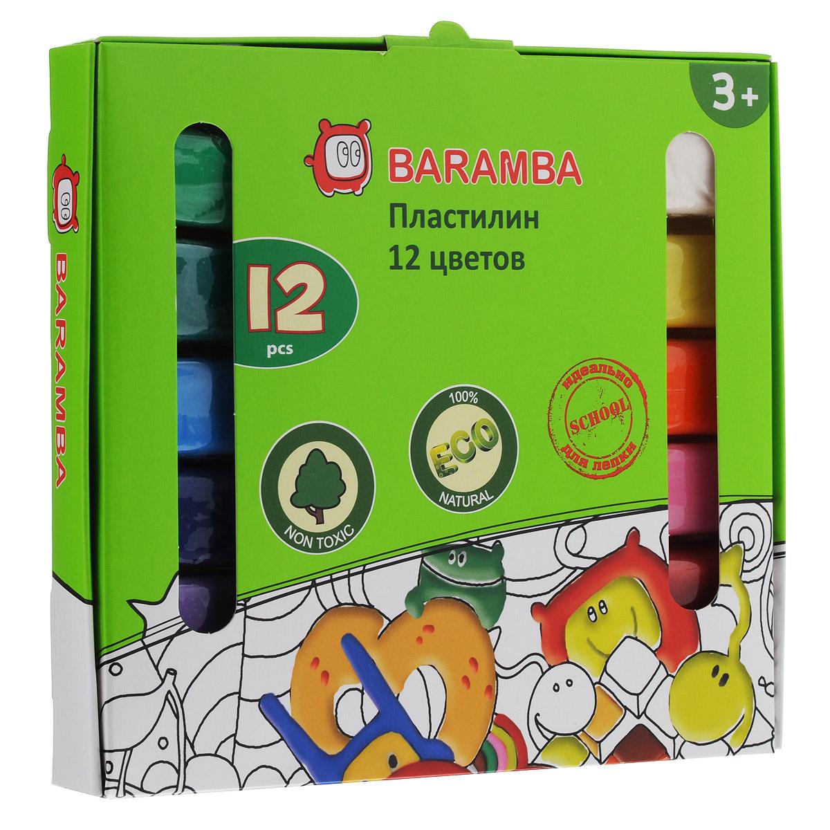 Пластилин на растительной основе Baramba, 12 цветовB30012Пластилин на растительной основе Baramba - это отличная возможность познакомить ребенка с еще одним из видов изобразительного творчества, в котором создаются объемные образы и целые композиции. В набор входит пластилин 12 ярких цветов (белый, желтый, оранжевый, розовый, красный, коричневый, светло-зеленый, зеленый, голубой, синий, фиолетовый, черный). Цвета пластилина легко смешиваются между собой, и таким образом можно получить новые оттенки. Пластилин на растительной основе, очень мягкий, содержит натуральные масла и воск, легко смешивается друг с другом и не липнет к рукам и не затвердевает.Техника лепки богата и разнообразна, но при этом доступна даже маленьким детям. Занятие лепкой не только увлекательно, но и полезно для ребенка. Оно способствует развитию творческого и пространственного мышления, восприятия формы, фактуры, цвета и веса, развивает воображение и мелкую моторику.