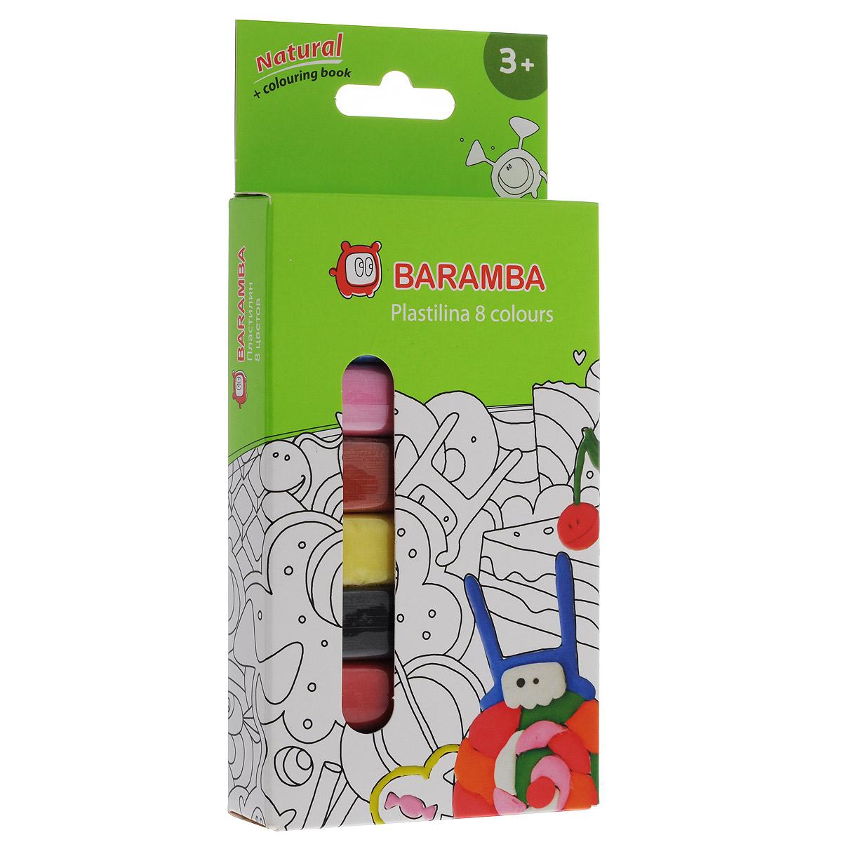 Пластилин на натуральной основе Baramba, 8 цветов, с раскраскойB30008Пластилин Baramba это отличная возможность познакомить ребенка с еще одним из видов изобразительного творчества, в котором создаются объемные образы и целые композиции. В набор входит пластилин 8 ярких цветов (белый, голубой, розовый, светло-коричневый, желтый, черный, красный, зеленый) и раскраска. Цвета пластилина легко смешиваются между собой, и таким образом можно получить новые оттенки. Пластилин на растительной основе имеет яркие, красочные цвета и не липнет к рукам, не сохнет.Техника лепки богата и разнообразна, но при этом доступна даже маленьким детям. Занятие лепкой не только увлекательно, но и полезно для ребенка. Оно способствует развитию творческого и пространственного мышления, восприятия формы, фактуры, цвета и веса, развивает воображение и мелкую моторику.