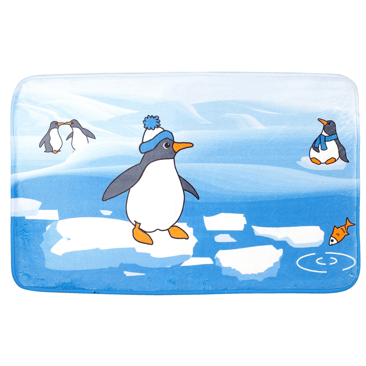 Коврик для ванной комнаты Tatkraft Penguins, 50 х 80 см18624Коврик для ванной комнаты Tatkraft Penguins изготовлен из микрофибры Ultra Soft - мягкого, приятного на ощупь материала. Коврик отлично поглощает и впитывает влагу. Основание - противоскользящее, оно предотвращает скольжение коврика по полу. Яркий красочный рисунок с изображением пингвинов внесет оригинальную нотку в интерьер ванной комнаты. Коврики Tatkraft - прекрасное решение для ванной комнаты. Можно стирать в стиральной машине.