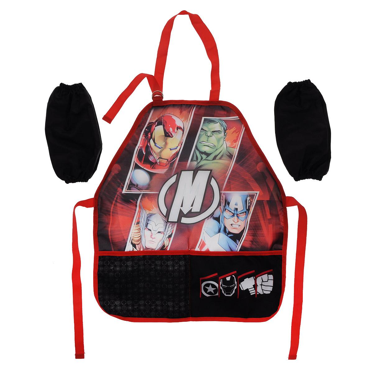 Фартук  Мстители , с нарукавниками, цвет: черно-красный -  Аксессуары для труда