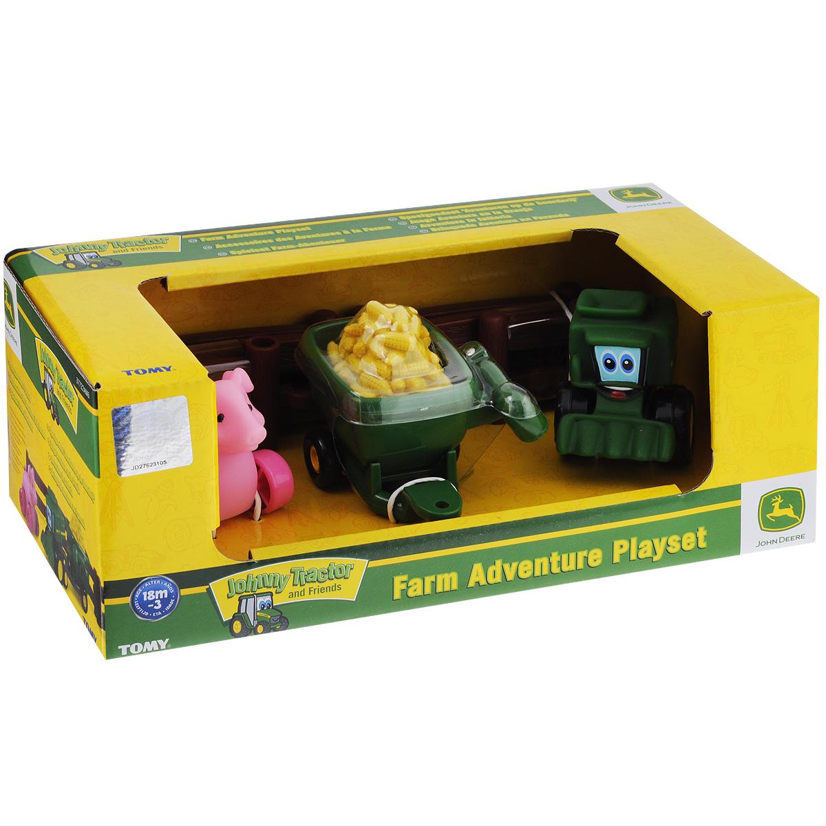 Игровой набор Tomy Приключения трактора Джонни и его друзей на ферме: Поросенок машинки tomy трактор john deere monster treads с большими резиновыми колесами tomy