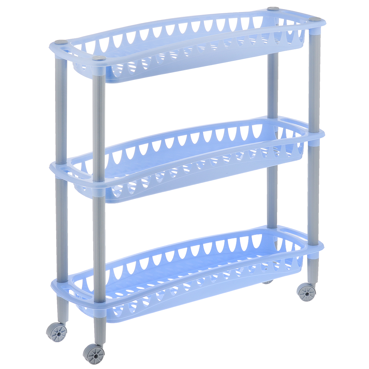 Этажерка Бытпласт Джулия, 3-ярусная, цвет: голубой, на колесиках, 59 х 18 х 61 смС12415Этажерка Бытпласт Джулия выполнена из высококачественного прочного пластика и предназначена для хранения различных предметов. Изделие имеет 3 полки прямоугольной формы с перфорированными стенками. Благодаря колесикам этажерку можно перемещать в любую сторону без особых усилий. В ванной комнате вы можете использовать этажерку для хранения шампуней, гелей, жидкого мыла, стиральных порошков, полотенец и т.д. Ручной инструмент и детали в вашем гараже всегда будут под рукой. Удобно ставить банки с краской, бутылки с растворителем. В гостиной этажерка позволит удобно хранить под рукой книги, журналы, газеты. С помощью этажерки также легко навести порядок в детской, она позволит удобно и компактно хранить игрушки, письменные принадлежности и учебники. Этажерка - это идеальное решение для любого помещения. Она поможет поддерживать чистоту, компактно организовать пространство и хранить вещи в порядке, а стильный дизайн сделает этажерку ярким украшением интерьера.Размер этажерки (ДхШхВ): 59 см х 18 см х 61 см. Размер полки (ДхШхВ): 59 см х 18 см х 6,5 см.