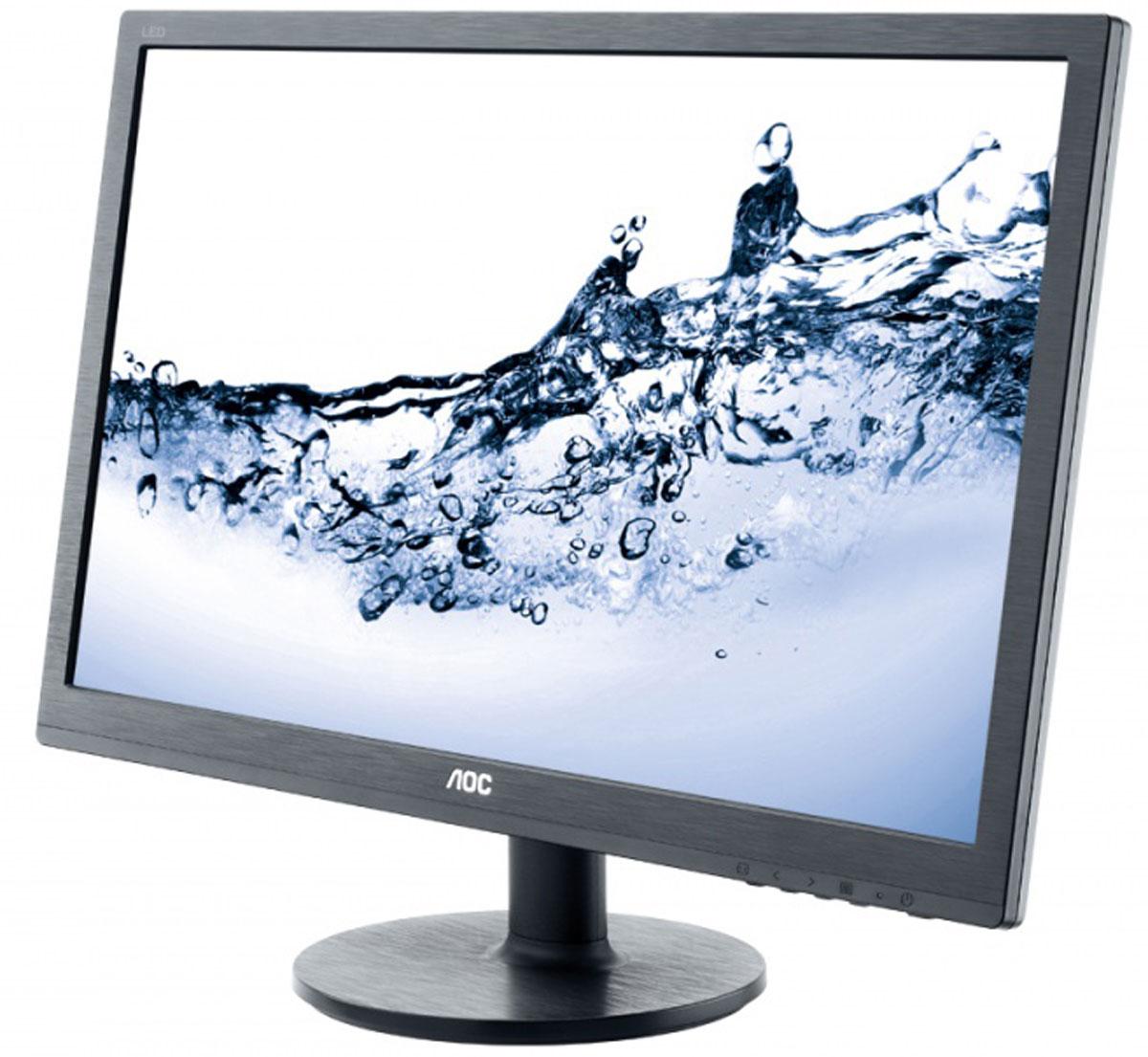 AOC e2460Sh/01, Black мониторe2460Sh/01Монитор AOC E2460SH с диагональю 24 дюйма разработан с учетом высокой производительности. Сверхмалоевремя отклика 1 мс для смены оттенков – это идеальный выбор для истинных любителей игр,а также для тех, кто работает с графикой, анимацией и видеоредакторами.Благодаря разрешению Full HD от вас не ускользнут даже мельчайшие детали, а впечатляющая динамическаяконтрастность обеспечивает передачу четкого изображения с насыщенными оттенками черного. Встроенные динамики мощностью 2 Вт передают кристально чистый звук при просмотре фильмов, прослушивании музыки или во время видеозвонков.Подставка позволяет легко наклонить экран в удобное положение, а крепление VESA служит для монтажа настену. Разъемы VGA, DVI и HDMI позволяют легко подключить несколько компьютеров и периферийных устройств.Благодаря интеллектуальным функция экономии энергии, таким как подсветка W-LED, этот монитор получил сертификат EPEAT Gold.Энергоэффективная светодиодная подсветка, высокая контрастность и сверхмалое время отклика гарантируютчеткость и реалистичность изображения без двоения и размытия. Удобные встроенные динамики обеспечивают насыщенное четкое звучание.