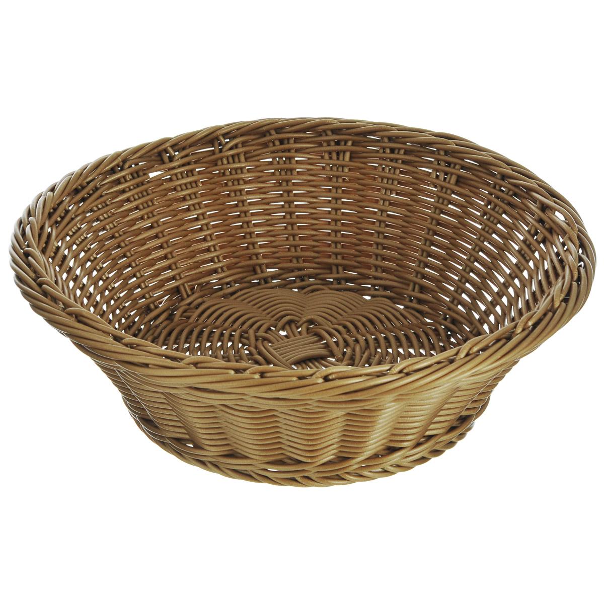 Корзинка для хлеба Kesper, диаметр 28,5 см. 1982-01982-0Оригинальная плетеная корзинка Kesper круглой формы, выполнена из пластика, напоминающего фактуру дерева. Корзинка прекрасно подойдет для вашей кухни. Она предназначена для красивой сервировки хлебобулочной продукции.Изящный дизайн придется по вкусу и ценителям классики, и тем, кто предпочитает утонченность и изысканность. Можно мыть в посудомоечной машине. Диаметр корзинки: 28,5 см. Высота корзинки: 9 см.