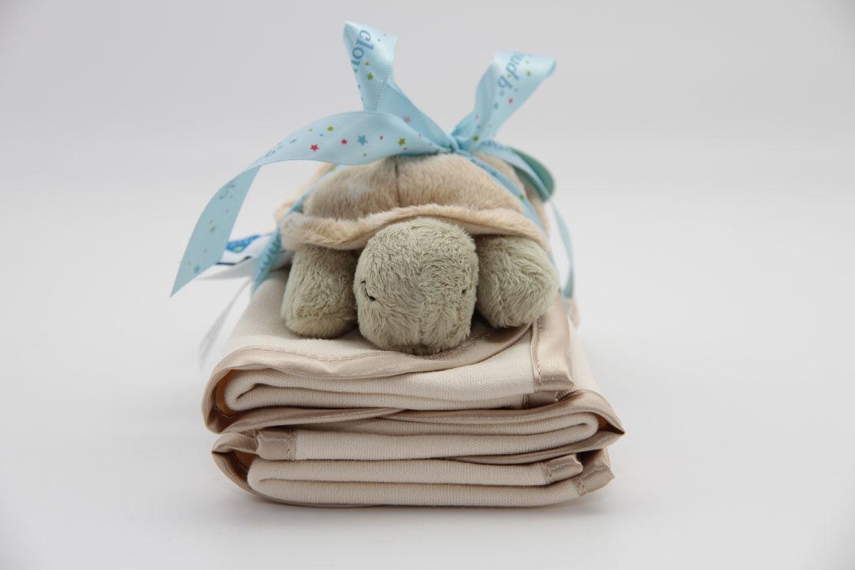 Cloud b Подарочный набор Черепашка-погремушка и салфетки, 3 предмета игрушка черепашка b kids