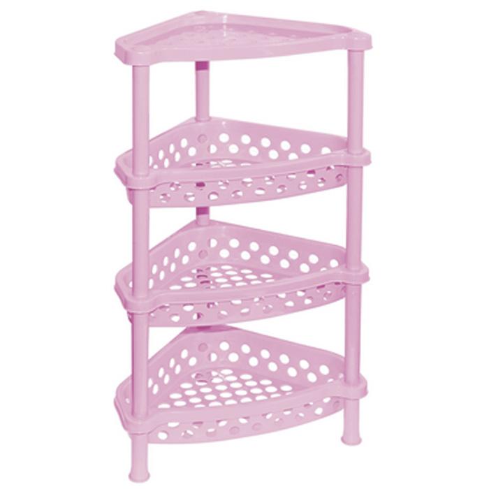 Этажерка угловая Violet, 4-х секционная, цвет: розовый, 37 х 28 х 73 см1604/9Этажерка Violet выполнена из высококачественного прочного пластика и предназначена для хранения различных предметов. Изделие имеет 4 полки треугольной формы с перфорированными стенками. В ванной комнате вы можете использовать этажерку для хранения шампуней, гелей, жидкого мыла, стиральных порошков, полотенец и т.д. Ручной инструмент и детали в вашем гараже всегда будут под рукой. Удобно ставить банки с краской, бутылки с растворителем. В гостиной этажерка позволит удобно хранить под рукой книги, журналы, газеты. С помощью этажерки также легко навести порядок в детской, она позволит удобно и компактно хранить игрушки, письменные принадлежности и учебники. Этажерка - это идеальное решение для любого помещения. Она поможет поддерживать чистоту, компактно организовать пространство и хранить вещи в порядке, а стильный дизайн сделает этажерку ярким украшением интерьера.Размер этажерки (ДхШхВ): 37 см х 28 см х 73 см. Размер полки (ДхШхВ): 37 см х 28 см х 7,5 см.