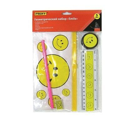 Набор геометрический детский (5 предметов) Proff Smile в индивидуальной упаковке с европодвесом