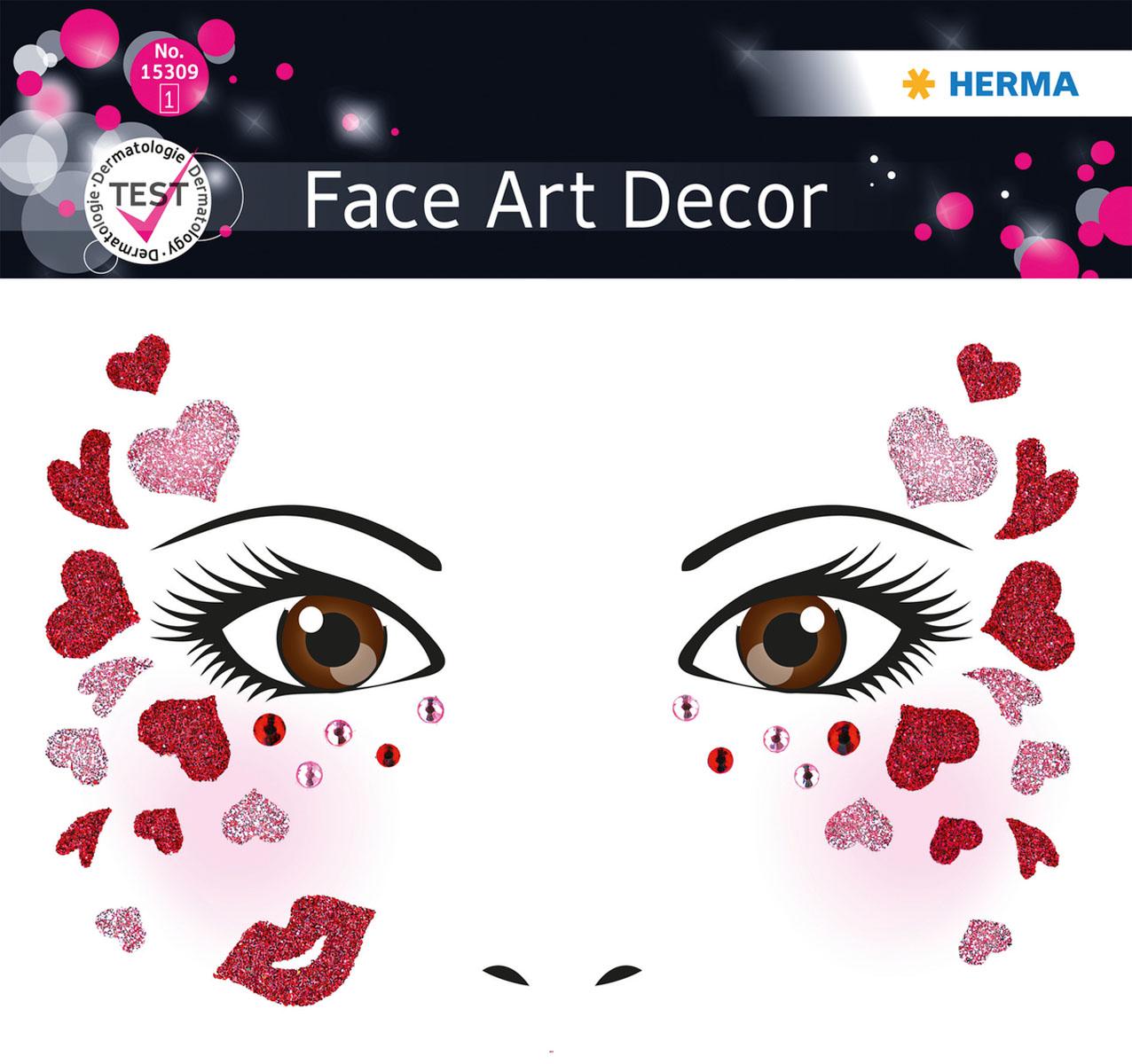 "Наклейки на лицо Face Art ""Love"", Herma"
