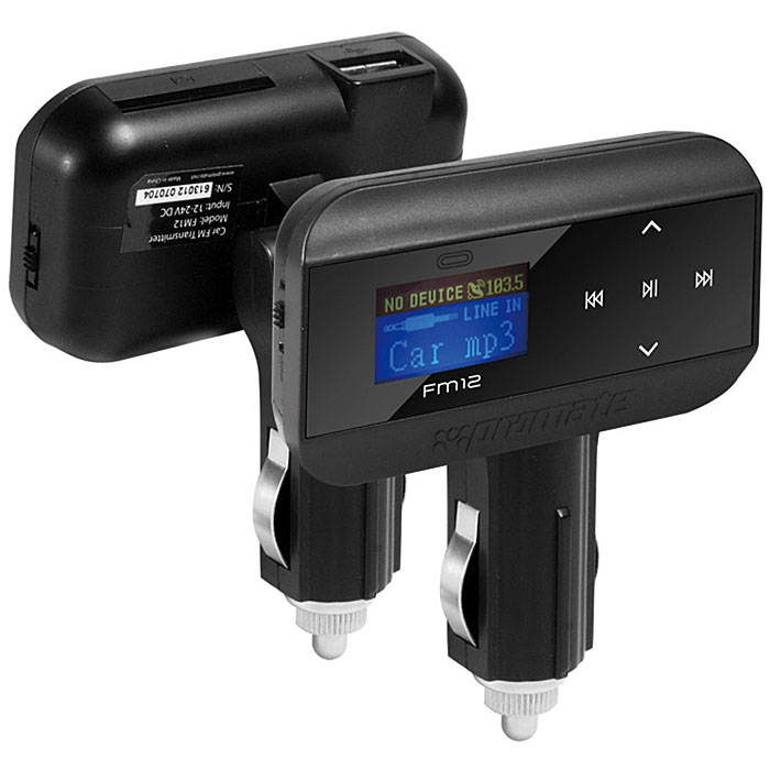Многофункц-ный FM Трансмиттер Promate FM1200007651Promate FM12 - беспроводной многофункциональный FM передатчик, который поможет Вам прослушать любимые МР3 файлы через стереосистему Вашего автомобиля с внешних устройств через AUX порт, а также с SD/MMS и флеш USB носителей. FM12 поддерживает 206 FM каналов в диапазоне с 87,5-108,0 MHz, обладает 16-разрядным большим ЖК экраном, который отображает информацию о текущем треке. В комплект FM модулятора включен 20-кнопочный пульт ДУ для удобства навигационного контроля. Promate FM12 изготовлен из ударопрочного ABS пластика. Материал: Пластик; цвет: черный