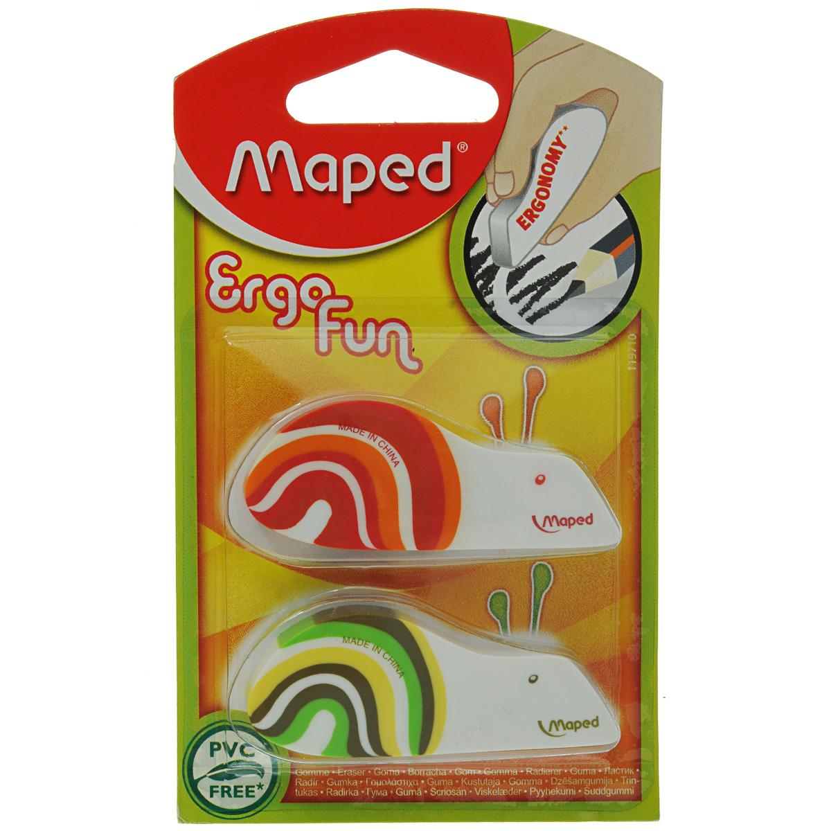Набор ластиков Maped Ergo Fun, 2 шт factis набор мягких ластиков цвет белый 2 шт