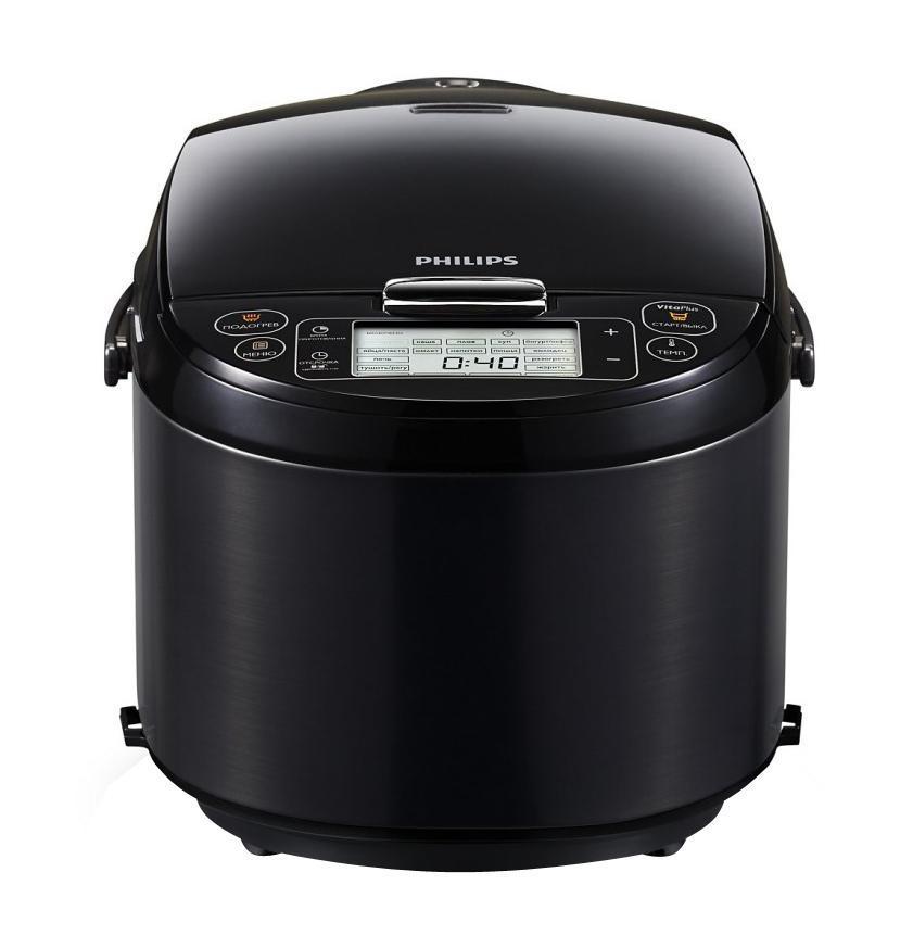Philips HD3197/03, Black мультиваркаHD3197/03Технология VitaPlus с двумя нагревательными элементами для быстрого и равномерного нагреваНовая технология нагрева VitaPlus: двойной нагревательный элемент для быстрого нагрева и равномерного распределения теплаТолстостенная чаша с покрытием ProKeram для удержания теплаТолстостенная внутренняя чаша 6 мм с нанокерамическим покрытием ProKeram обеспечивает удержание тепла и повышенную прочностьЛегкопрограммируемый таймер отсрочки старта до 24 часовЛегкопрограммируемый таймер отсрочки старта до 24 часов позволит приготовить блюда к нужному времениСъемная верхняя крышка для удобства приготовления пищи и очисткиВерхняя крышка полностью снимается, что обеспечивает удобство при приготовлении пищи. Ее также можно мыть в посудомоечной машинеВнутреннюю чашу можно мыть в посудомоечной машинеВ комплект входит книга рецептов с оригинальными идеямиВ комплект входит кулинарная книга с более чем 30 оригинальными рецептами вкусных блюд и советами профессионалов23 программы для приготовления вкусных и здоровых блюд23 программы и режим Мультиповар для приготовления вкусных и здоровых блюд