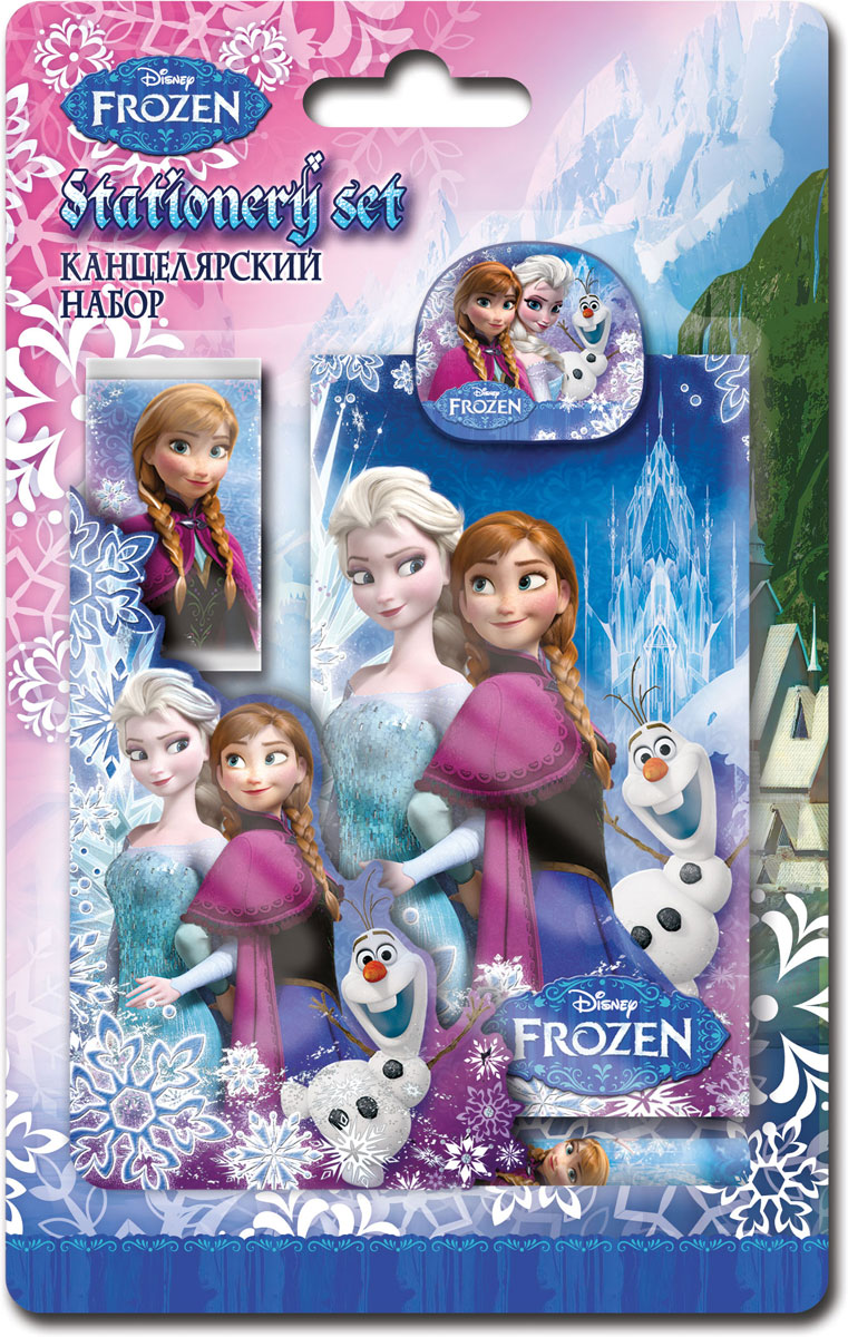 Набор канцелярский Frozen, 5 предметов. FZCB-US1-3808-BL5FZCB-US1-3808-BL5Набор канцелярских принадлежностей Frozen станет незаменимым аксессуаром для школьника. В набор входит: мини-карандаш, блокнот, клип, ластик обернутый бумагой, точилка.Предметы набора оформлены изображениями любимых героев мультфильма Холодное сердце. Канцелярские принадлежности оригинального дизайна поднимут настроение и станут оригинальным сувениром.