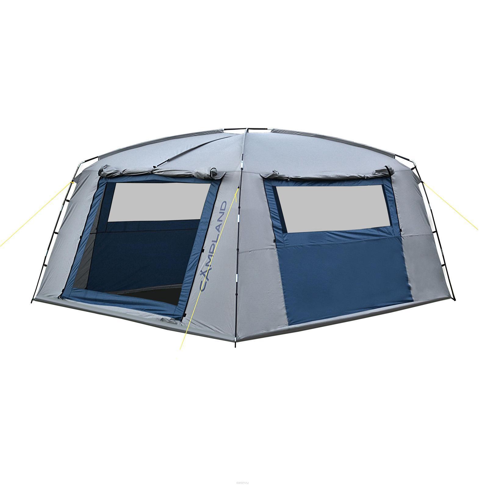 Тент шатер CAMPLAND FORT 335, цвет: серый, синийFORT 335Тент-шатер FORT 335 просторная модель для дружеских поездок на природу. Без такого приспособления не обойтись в случае, если погода меняется, собирается дождь или поднялся ветер, защитит тент и от яркого солнца. В широком и высоком тенте можно устроить кухню или столовую, сложить вещи и самим укрыться в случае необходимости. Тент-шатер вмещает большое количество человек, он очень прочный и устойчивый, выдерживает серьезные порывы ветра.Технологии: Вентиляционные окна (Х-вентиляция), чехол с утягивающими стропами, швы проклеены, оттяжки по углам тента, двухслойные двери. Обладает высокой ветроустойчивостью. С четырех сторон расположены штормовые оттяжки и стропы из полиэстра