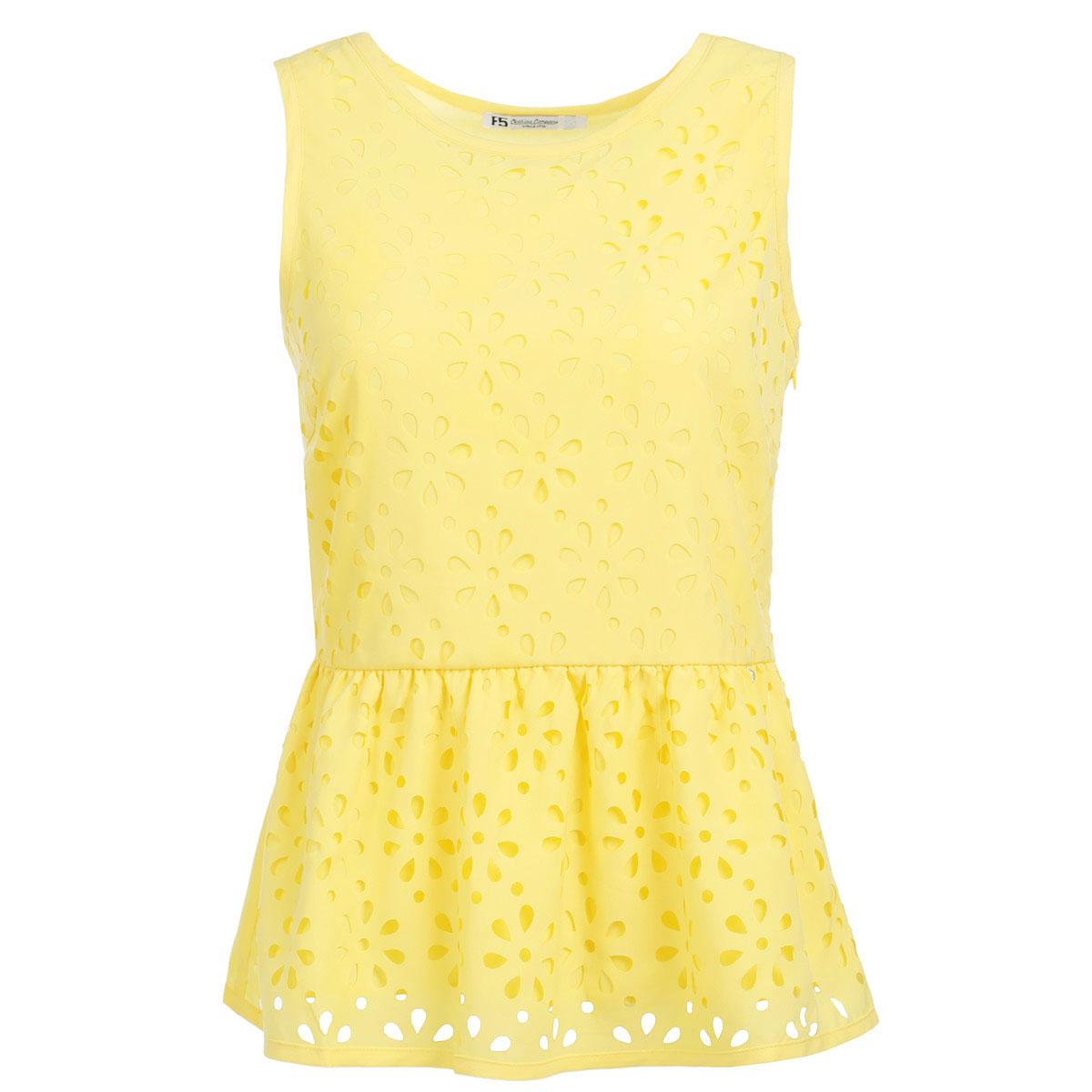 Блузка женская F5, цвет: желтый. 17231. Размер S (44)17231Очаровательная блузка F5 очень удобна и практична - прекрасный вариант на каждый день. Изготовлена блузка из полиэстера с небольшим добавлением эластана. Модель приталенного кроя с круглым вырезом горловины и без рукавов. В боковом шве расположена потайная застежка-молния. На талии блузка дополнена баской. Спереди изделие оформлено декоративной перфорацией в виде цветочного узора. Такая блузка будет гармонично смотрятся как с классическими брюками, так и с юбкой-карандаш или шортами. Модная блузка займет достойное место в вашем гардеробе.