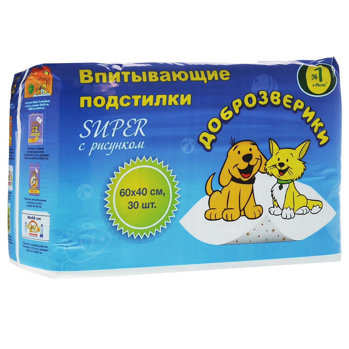 Подстилки для домашних животных  Доброзверики , впитывающие, 60 см х 40 см, 30 шт - Средства для ухода и гигиены