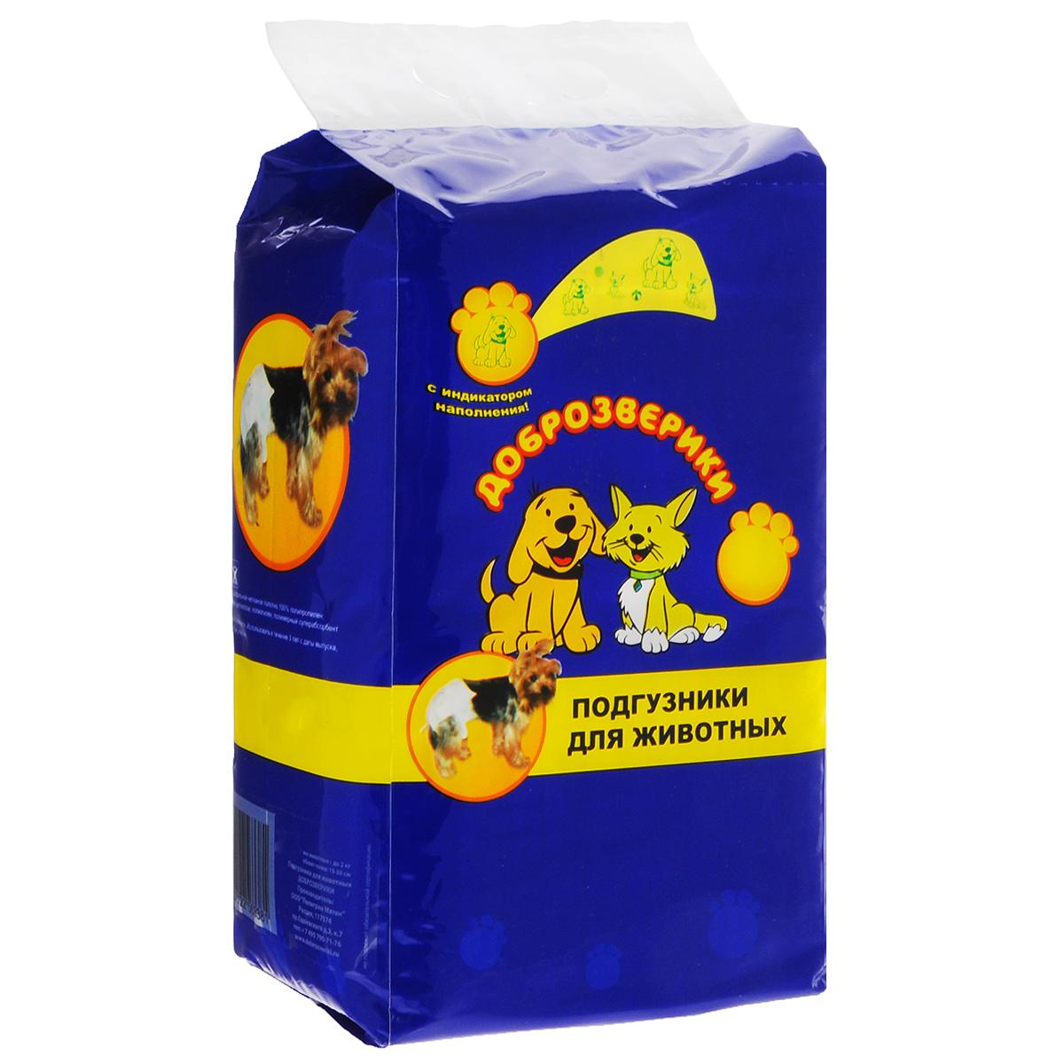 Подгузники для животных  Доброзверики , 7-15 кг, 12 шт. Размер М - Средства для ухода и гигиены
