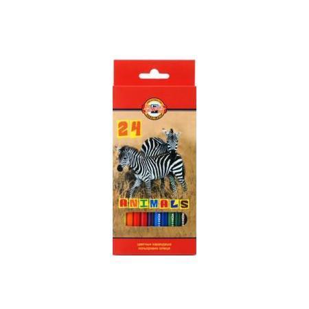 """Карандаши 24 цвета Koh-I-Noor """"Animals"""" в картонной коробке с европодвесом"""