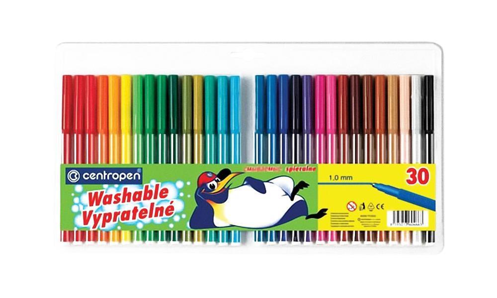 Фломастеры 30 цветов  Centropen ПИНГВИНЫ  в пластиковом пакете -  Фломастеры