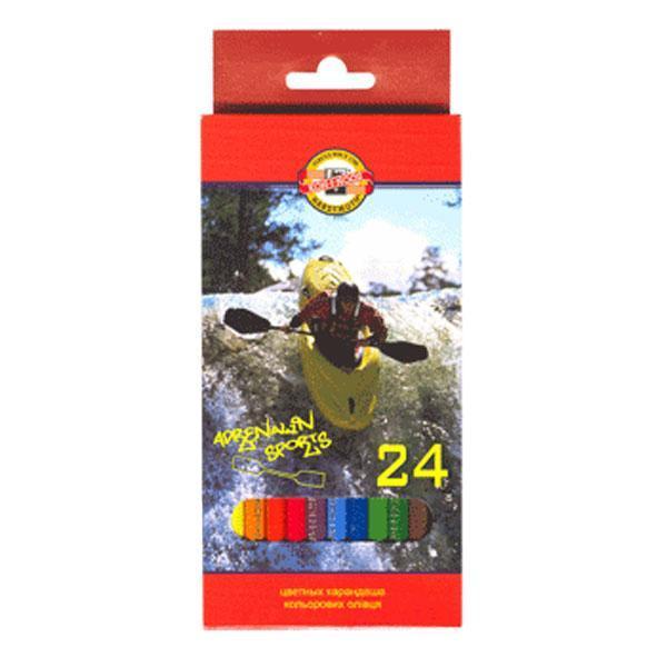 Карандаши 24 цвета Koh-I-Noor Adrenalin Sports в картонной коробке с европодвесом3554024007KSRUВысококачественный ударопрочный грифель обеспечивает невероятно мягкое письмо, не ломается и не крошится при заточке. С цветными карандашами маленький художник сможет с легкостью воплотить свои многочисленные творческие замыслы!