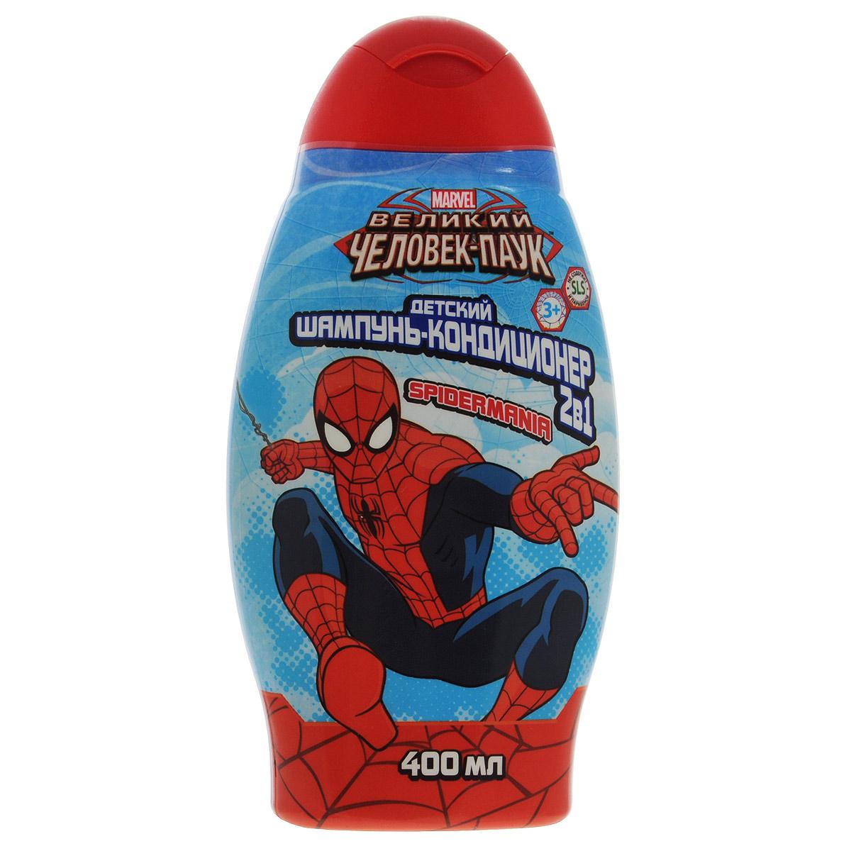 Spider-Man Шампунь с кондиционером 2в1 Spidermania, детский, 400 мл. 1328113281Натуральные компоненты и растительные экстракты, входящие в состав шампуня-кондиционера 2в1 Spidermania, обеспечат бережный уход и позаботятся о красоте и здоровье волос. Мягкая текстура и приятный аромат шампуня подарят отличное настроение и заряд энергии на весь день!Такой шампунь понравится вашему маленькому супергерою и превратит купание в веселое приключение!Товар сертифицирован.