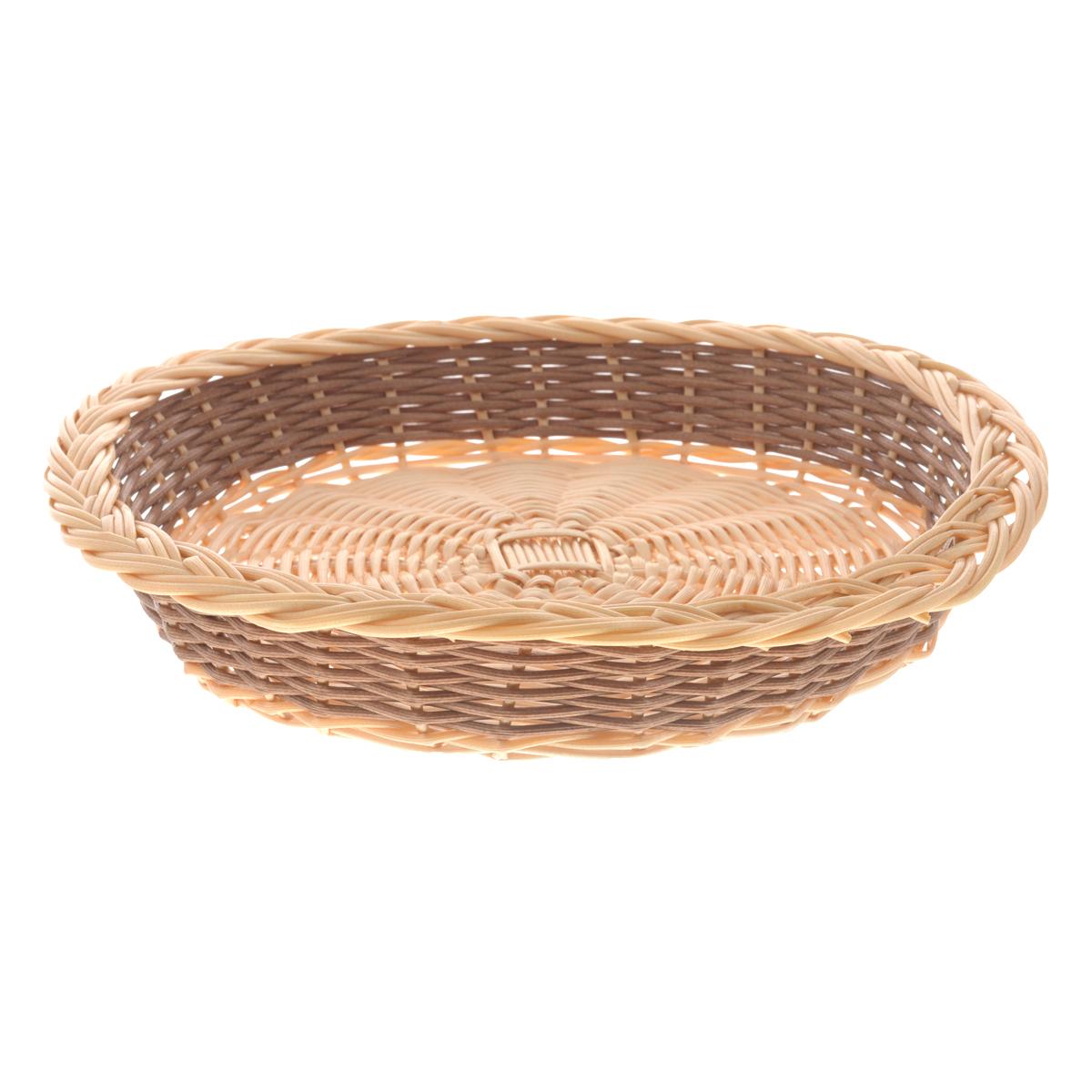 Корзина Kesper, диаметр 29 см1781-0Круглая плетеная корзина Kesper изготовлена из высококачественного пластика. Она предназначена для хранения фруктов, хлеба, а также мелочей дома или на даче. Позволяет хранить мелкие вещи, исключая возможность их потери. Корзина очень вместительная. Элегантный выдержанный дизайн позволяет органично вписаться в ваш интерьер и стать его элементом.Диаметр: 29 см.Высота: 5 см.