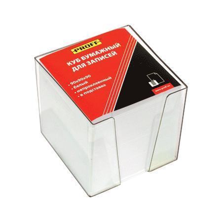 Куб бумажный для записей 90*90*90 белый, непроклеенный, в прозрачной пластиковой подставке ProffМ150-90 ПБ PF