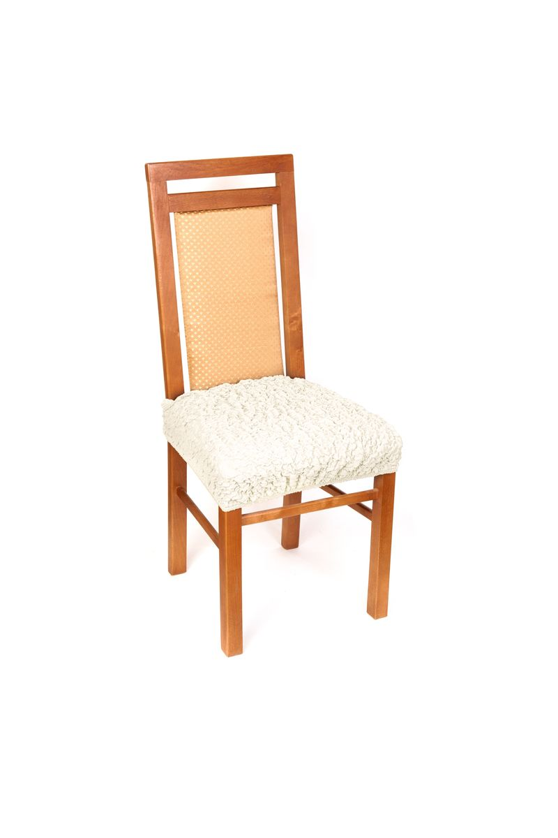 """Чехол на сиденье стула Еврочехол """"Модерн"""" выполнен из 60% хлопка, 35% полиэстера и 5% эластана.  Красивые итальянские чехлы подойдут на любое сиденье стула. Они надежно защитят вашу обивку. Чехол на сиденье стула дает возможность оставить открытыми красивые спинки ваших стульев. Натуральный хлопок в составе мягкой, приятной на ощупь ткани делает ее крепкой и практичной в эксплуатации, позволяя идеально облегать мебель и долго сохранять первоначальную форму. Красивая фактура ткани выгодно смягчит геометрию мебели, а актуальный цвет чехла сделает стул эффектной деталью как классического, так и современного интерьера, привнося в атмосферу помещения свежие легкие ноты. Чехол имеет несколько функциональных элементов: текстильную планку, которая надевается на спинку и фиксирует чехол, и """"язычок"""", который легко можно спрятать. Чехол подходит на сиденье стула, а также на табуреты любой формы.  Растяжимость чехла: 40-60 см."""