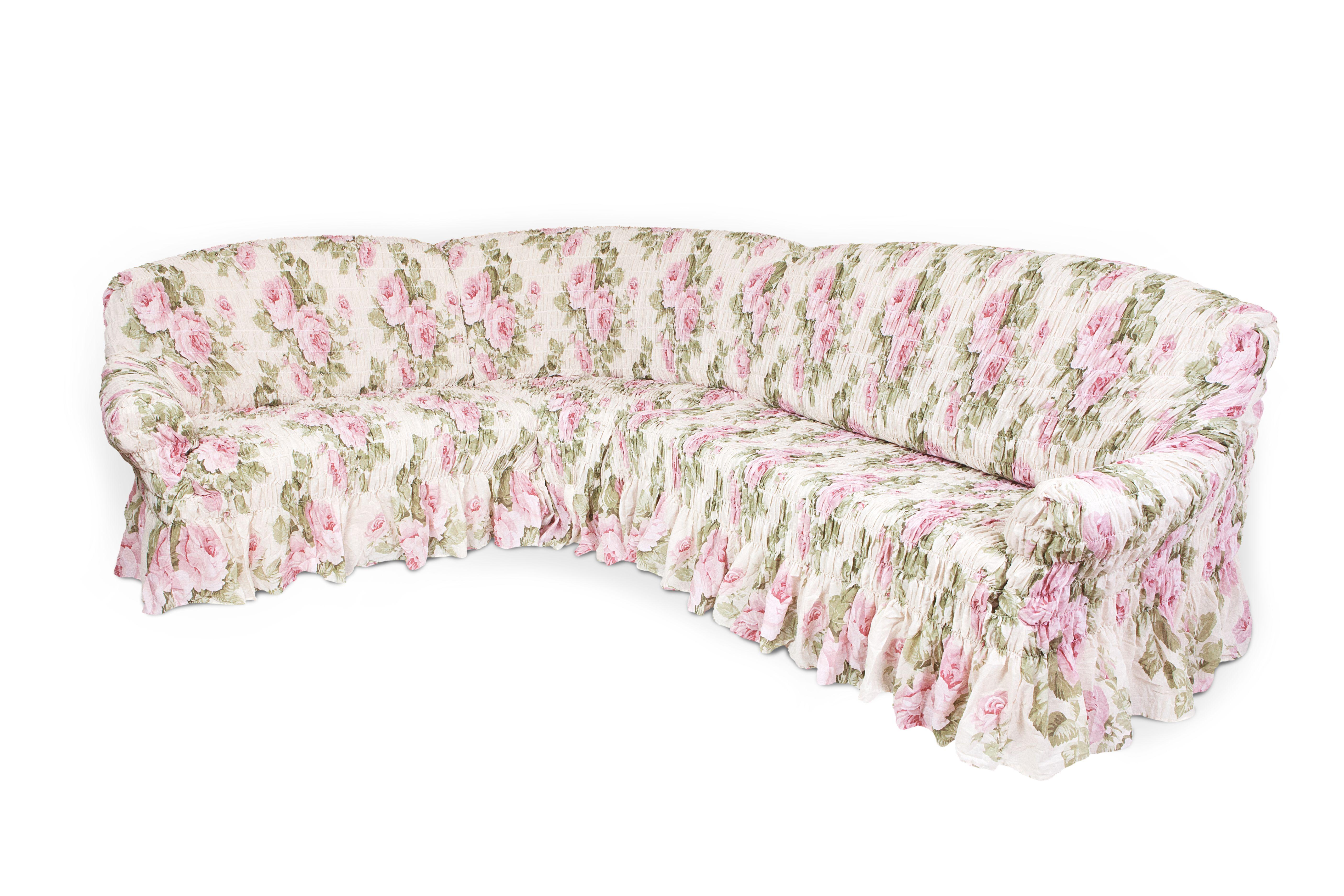 Чехол на угловой диван Еврочехол Фантазия, 380-530 см чехлы для мебели еврочехол еврочехол плиссе лен на кресло