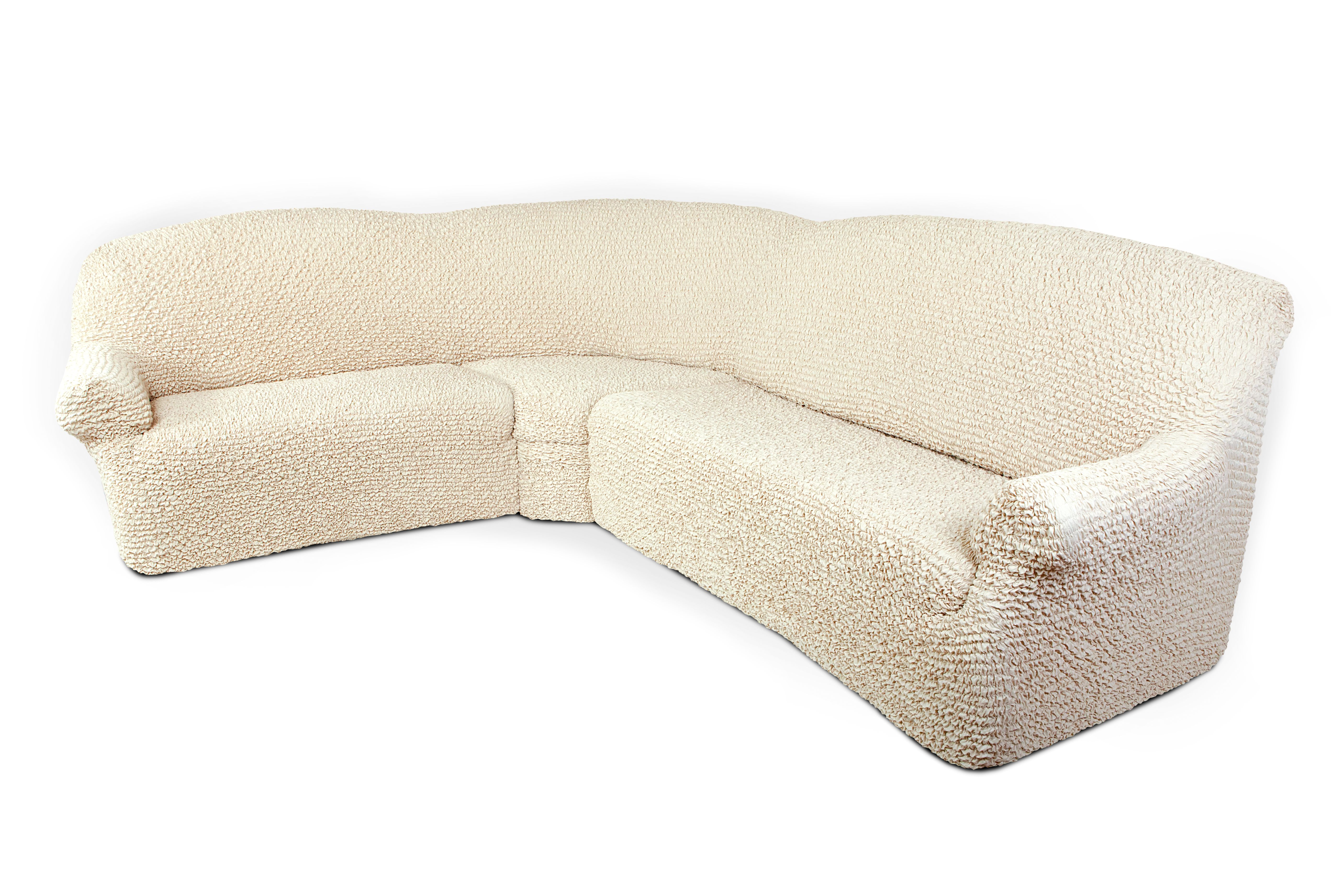 Чехол на угловой диван Еврочехол Микрофибра, цвет: ванильный, 380-550 см натяжной чехол на трехместный диван еврочехол еврочехол фантазия венеция